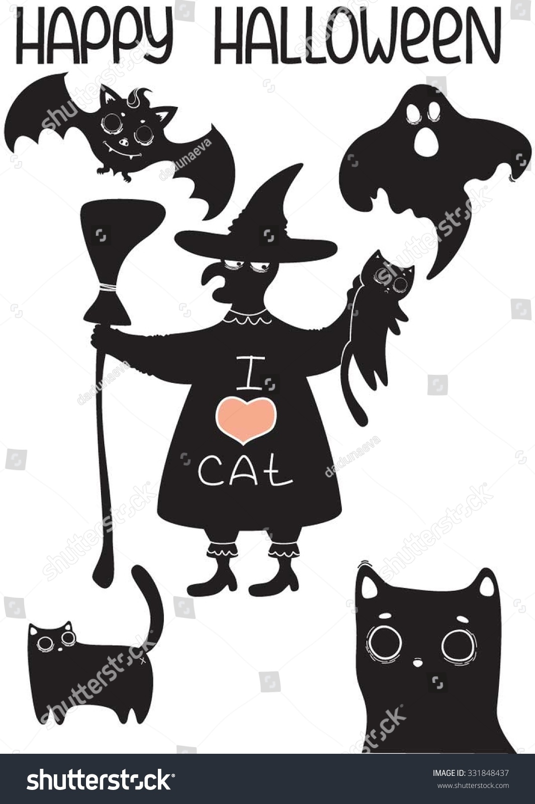 set halloween characters bat ghost witch stock vector 331848437
