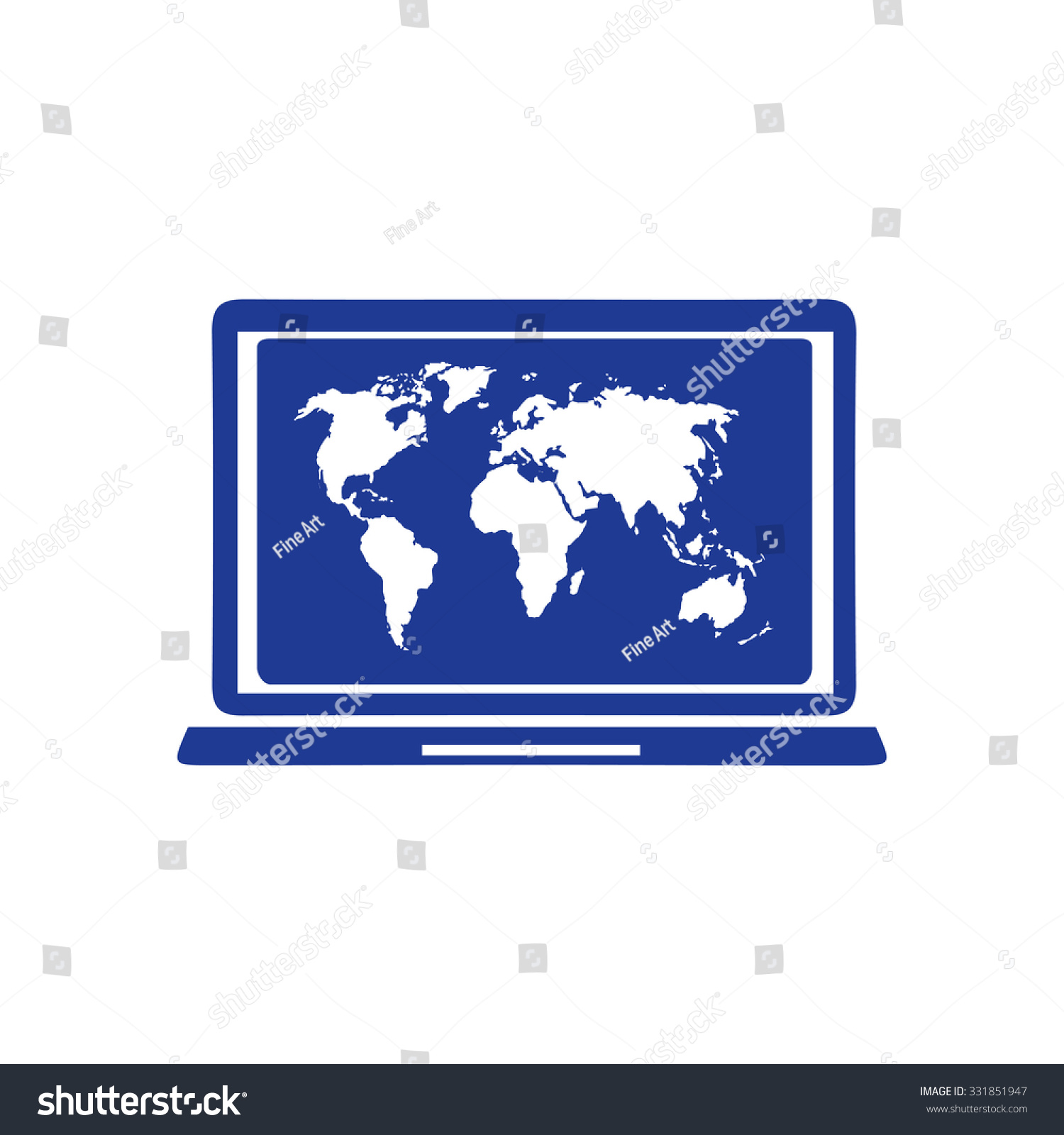 Laptop world map illustration world map stock vector 331851947 laptop and world map illustration world map geography symbol flat design style vector gumiabroncs Gallery