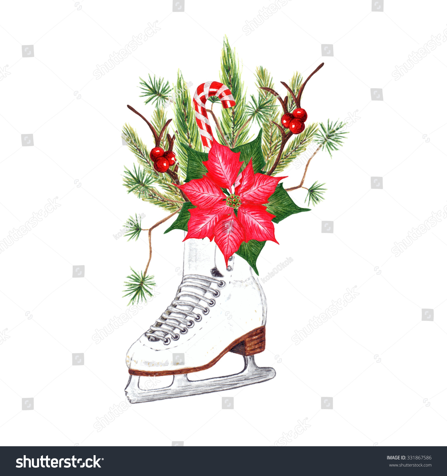 Watercolor Ice Skate Decorated Poinsettia Flower Stock Illustration ...
