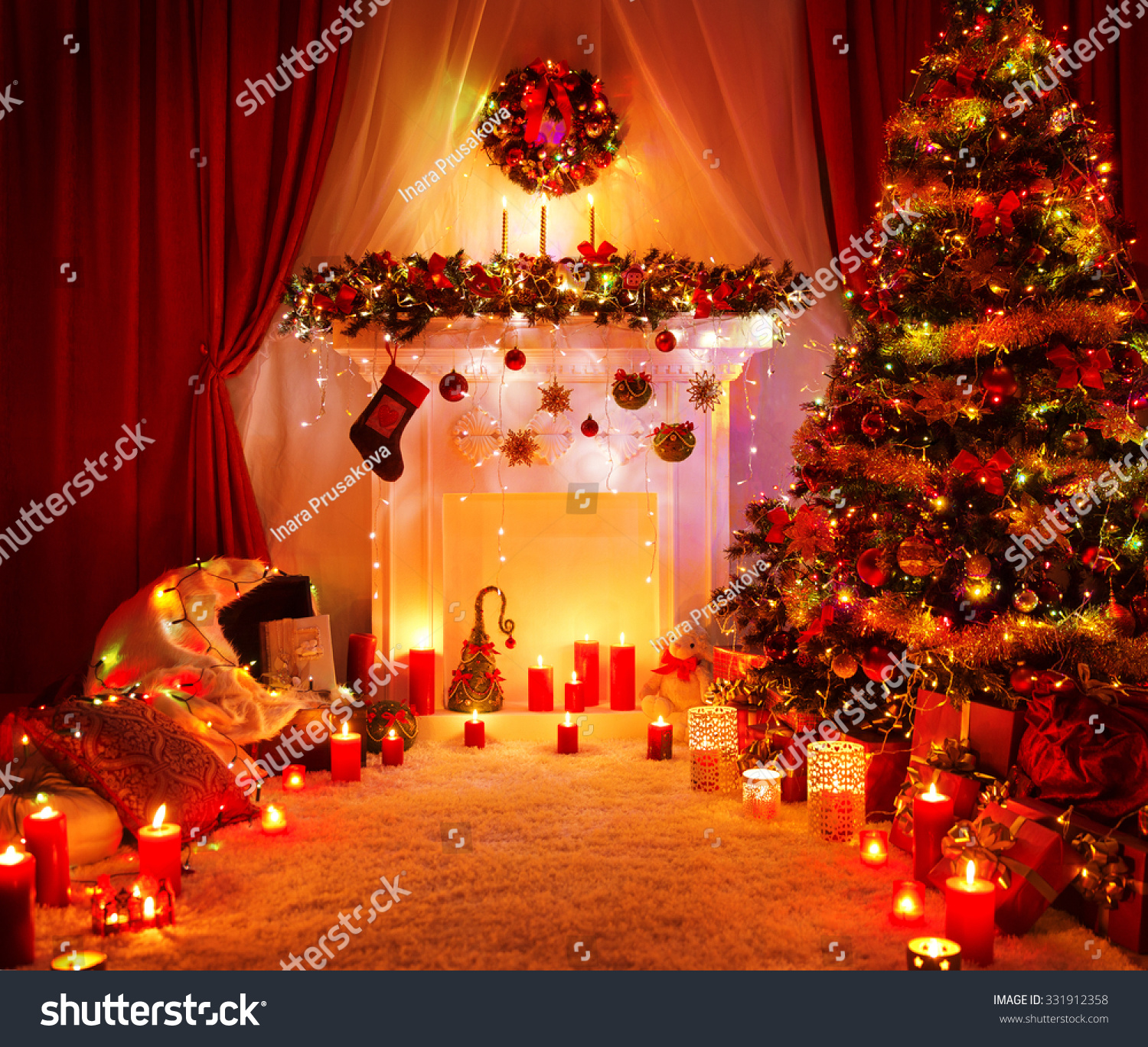 room christmas tree fireplace lights xmas home interior decoration hanging sock and present toys - Hanging Christmas Lights In Room