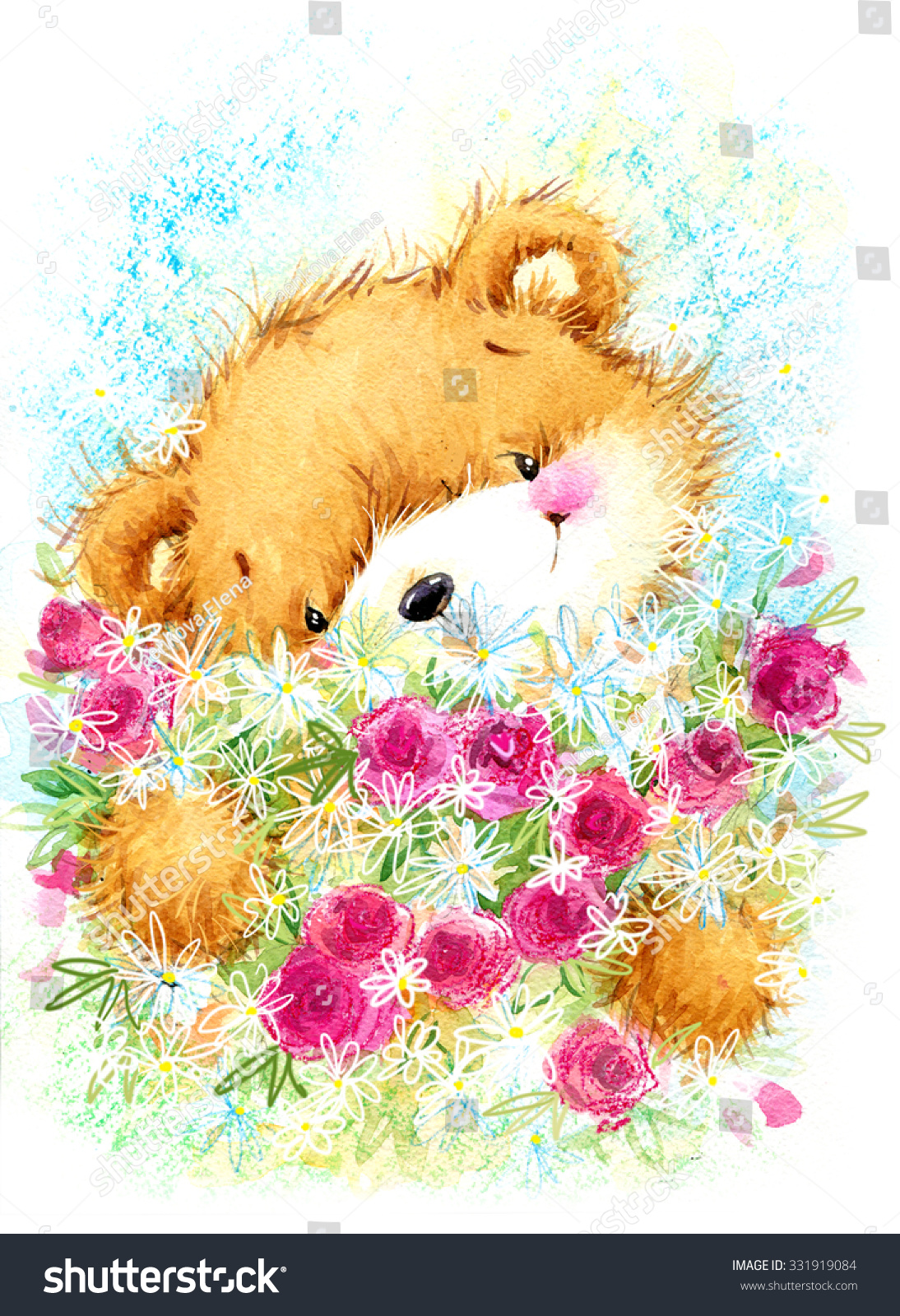 cute toy teddy bear and Birthday card background watercolor illustration