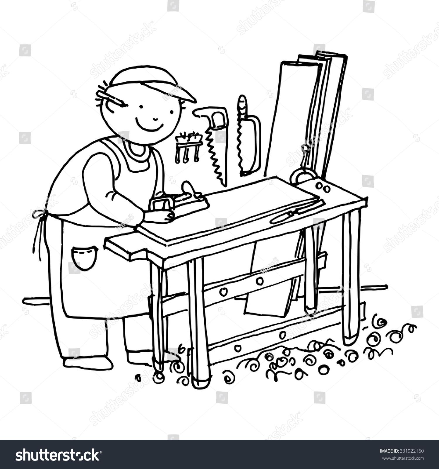carpenter cabinetmaker hand drawn doodle vector stock. Black Bedroom Furniture Sets. Home Design Ideas