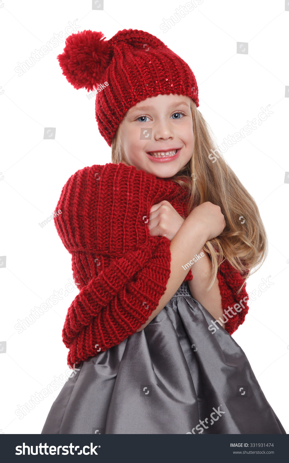 Cute Child Shivering In The Cold Isolated On White Stock ...