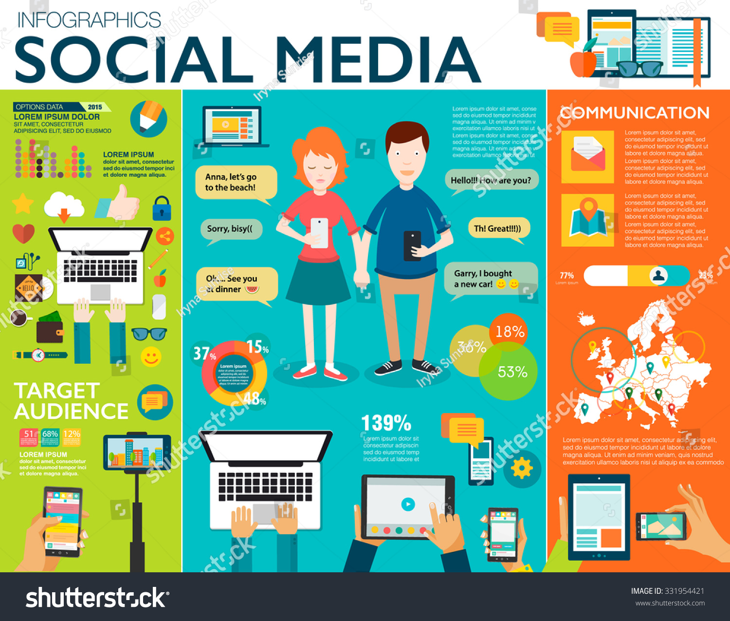 Social Media Infographic Set Charts Icons Stock Vector 331954421