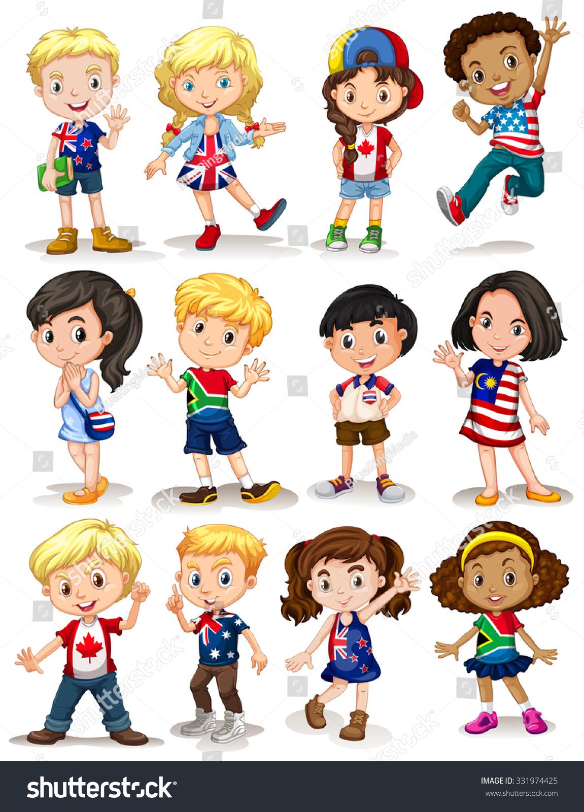 Children Different Countries Illustration Stock Vector 331974425 Shutterstock