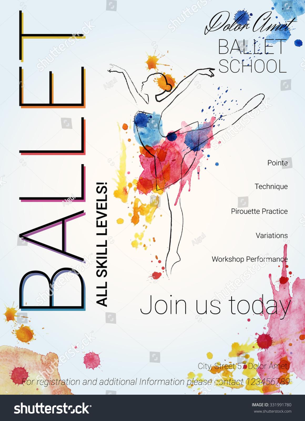 ballet background flyer brochure invitation ticket stock vector flyer brochure invitation ticket poster or greeting card design