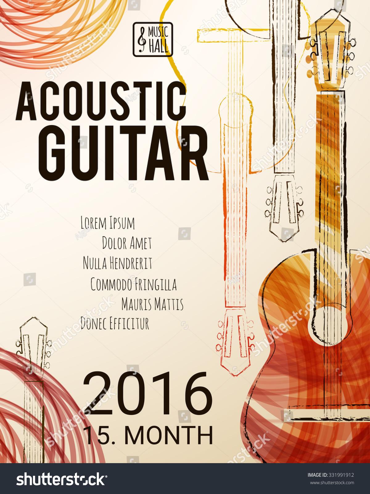 acoustic guitar event design flyer poster stock vector  acoustic guitar event design for flyer poster invitation vector illustration