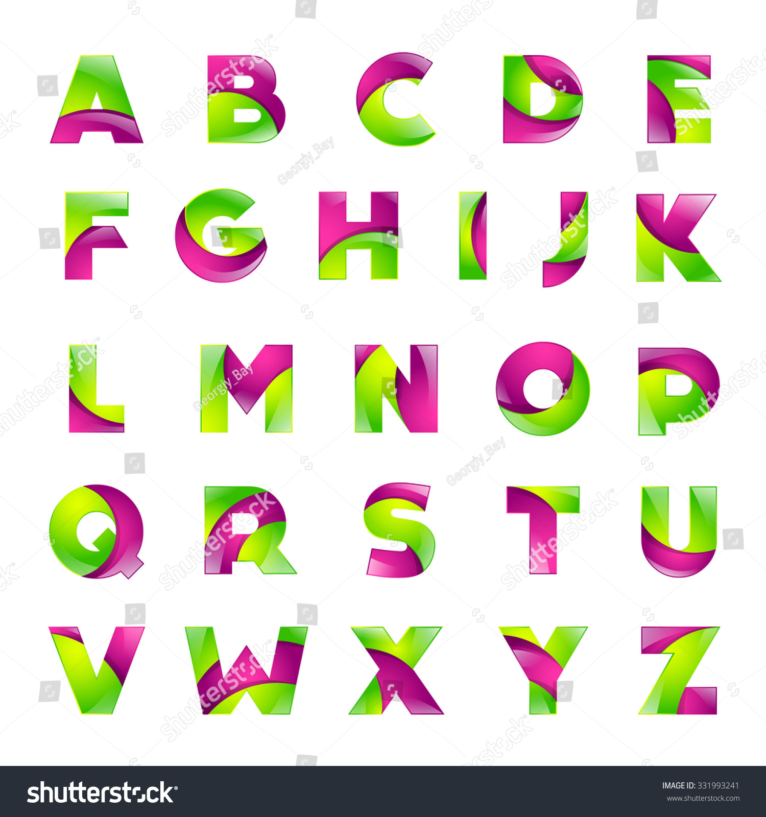 fun english alphabet green and pink color letters set font style design template elements for application