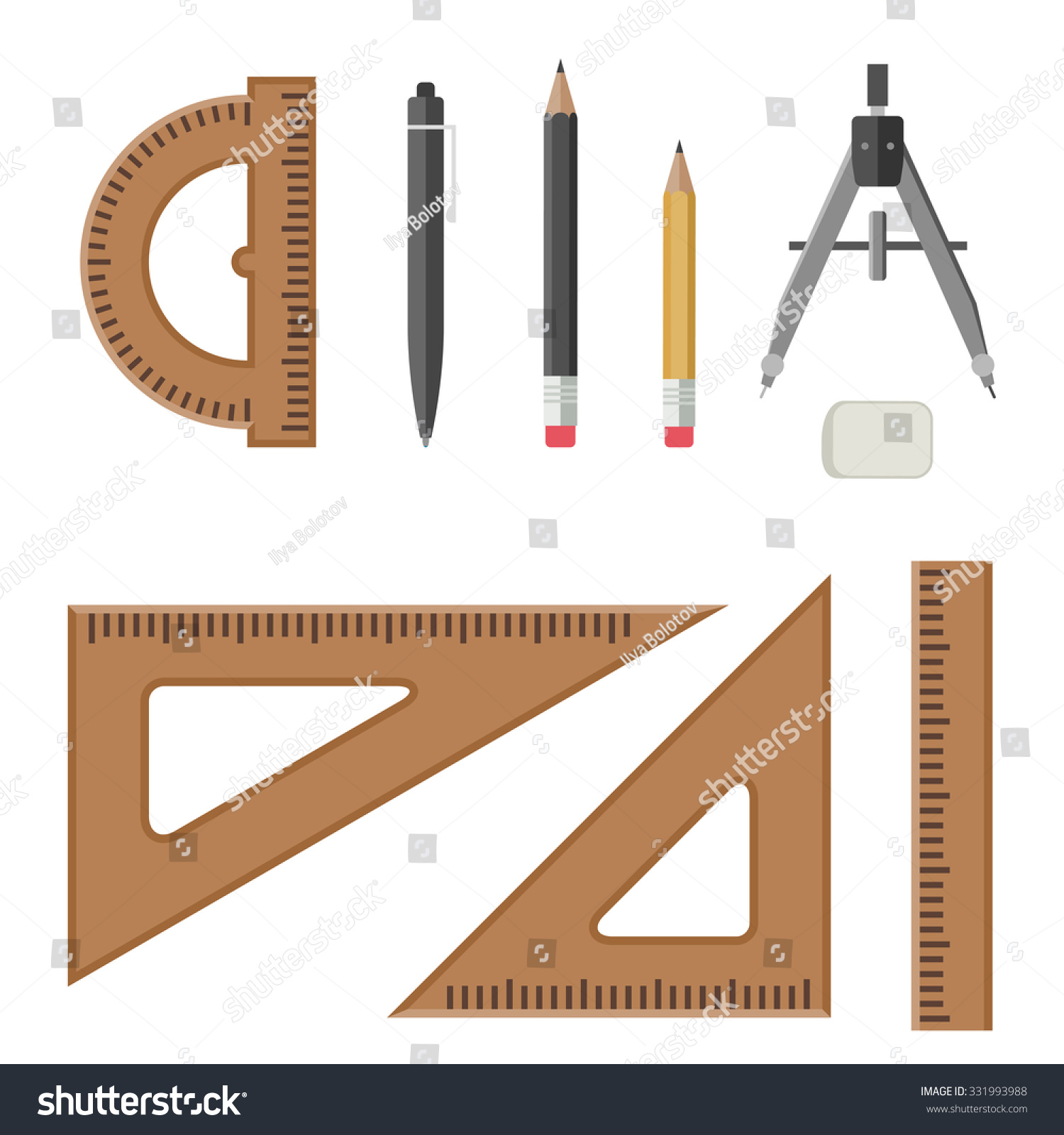 Drawing equipment flat style architectural workplace stock for Architecture drawing tools