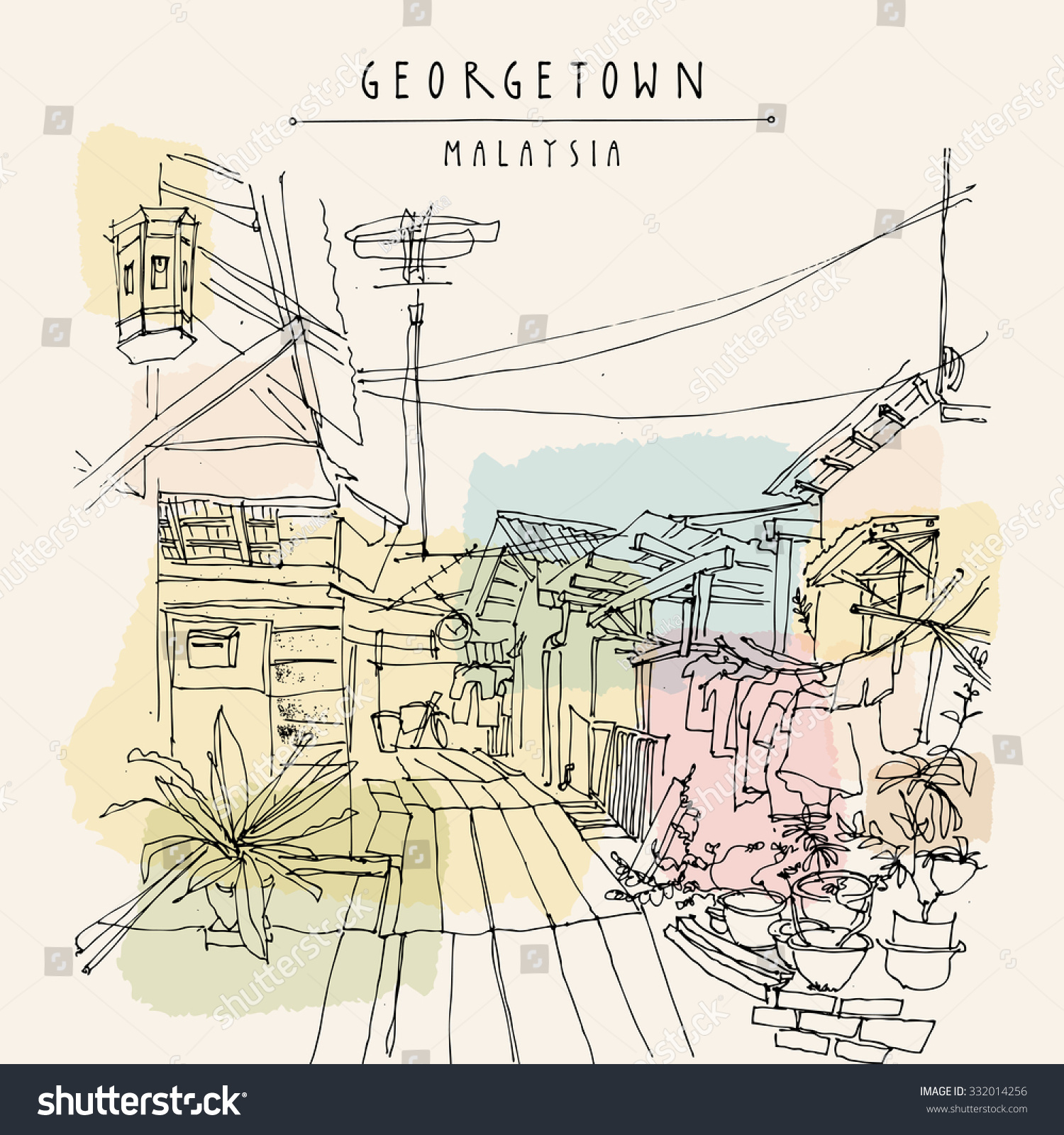 Georgetown, Malaysia, Southeast Asia. Traditional wooden houses on water,  plants, electric wires. Artistic drawing. Touristic postcard template in  vector ...