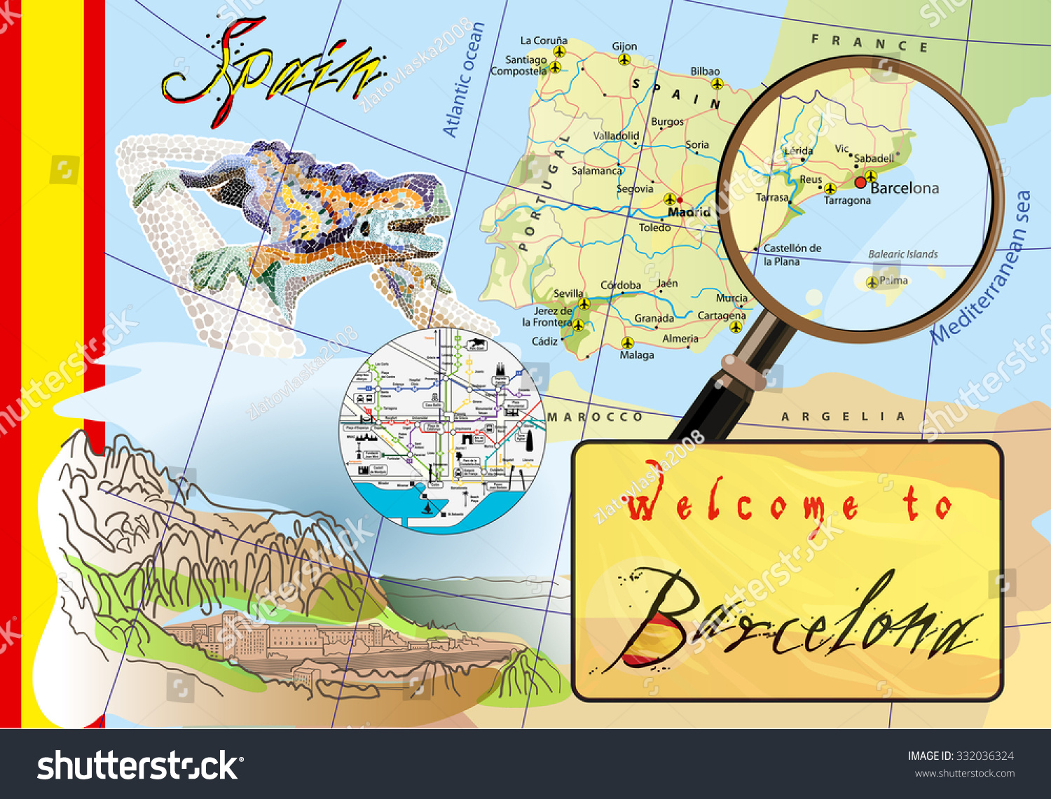 Welcome Barcelona Attractions On Map Stock Photo Photo Vector