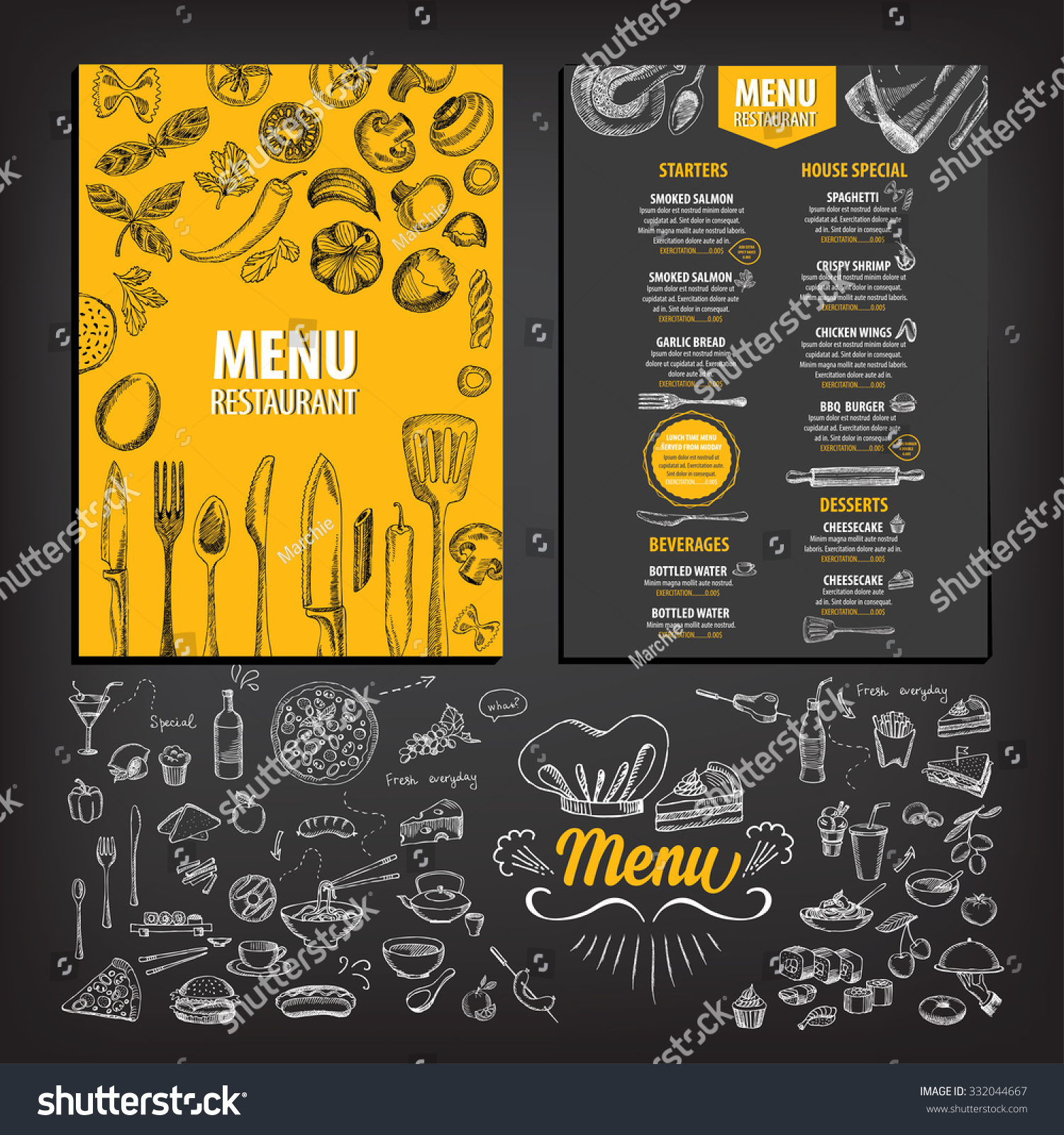 Vector restaurant brochure menu design stock