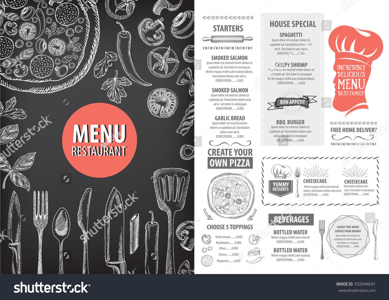 Vector restaurant brochure menu design cafe