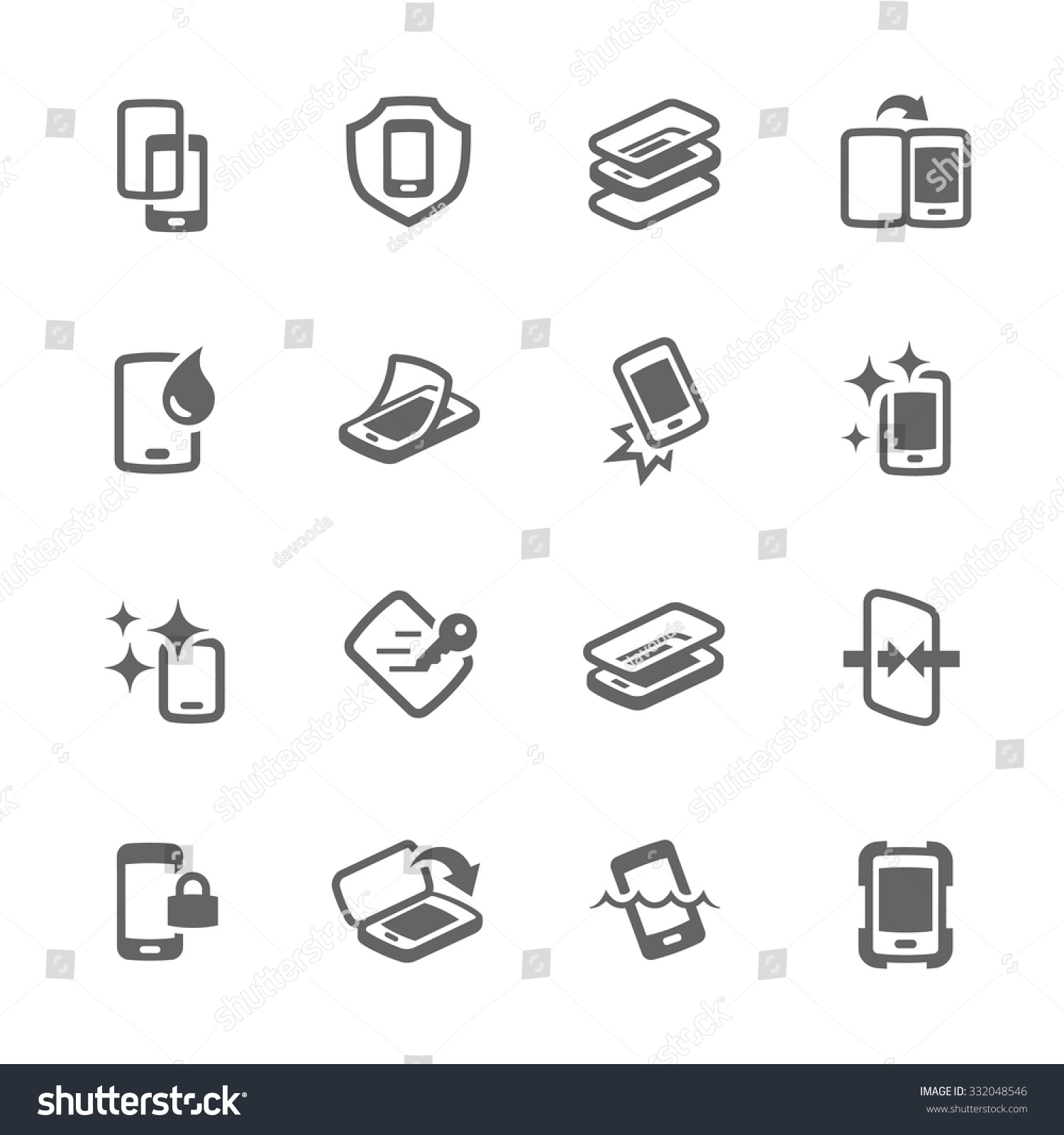 Simple Set of Smart Phone Cover Related Vector Icons for Your Design.