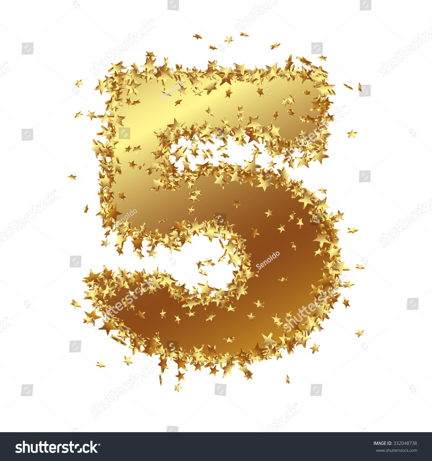 abstract golden number with starlet border five 5 birthday party new