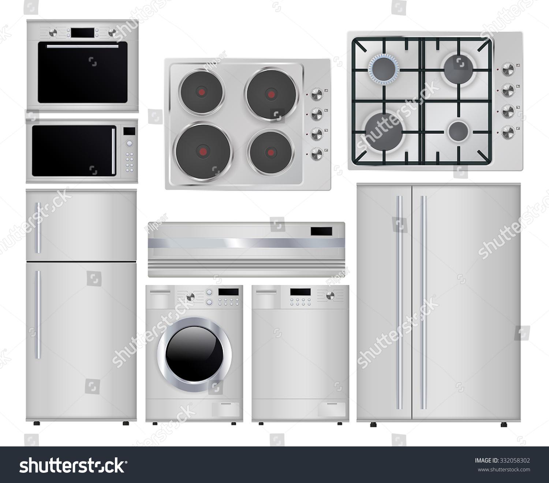 Gas Kitchen Appliances Home Appliances Set Household Kitchen Technologies Stock Vector