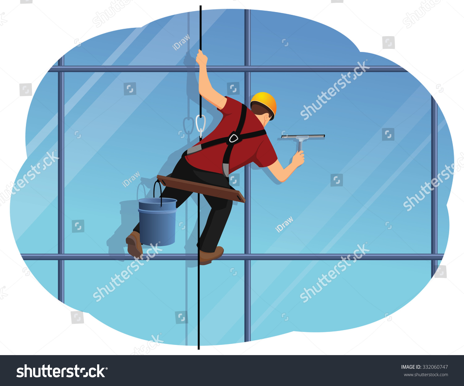Window Washer Cleaning High Office Building Stock Vector