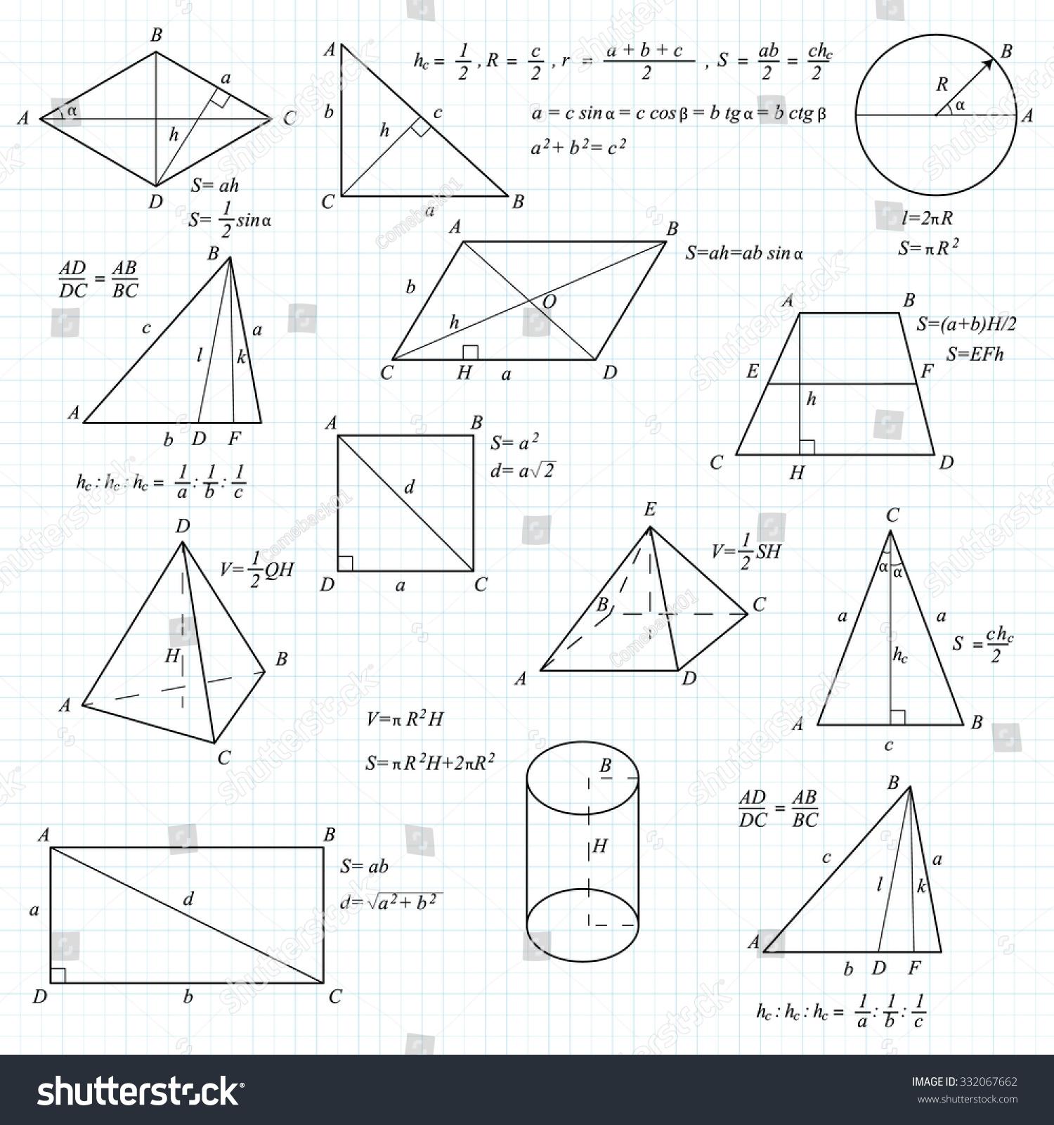 Mathematical geometric vector formulary school university stock mathematical and geometric vector formulary for school university and training basic formulas biocorpaavc
