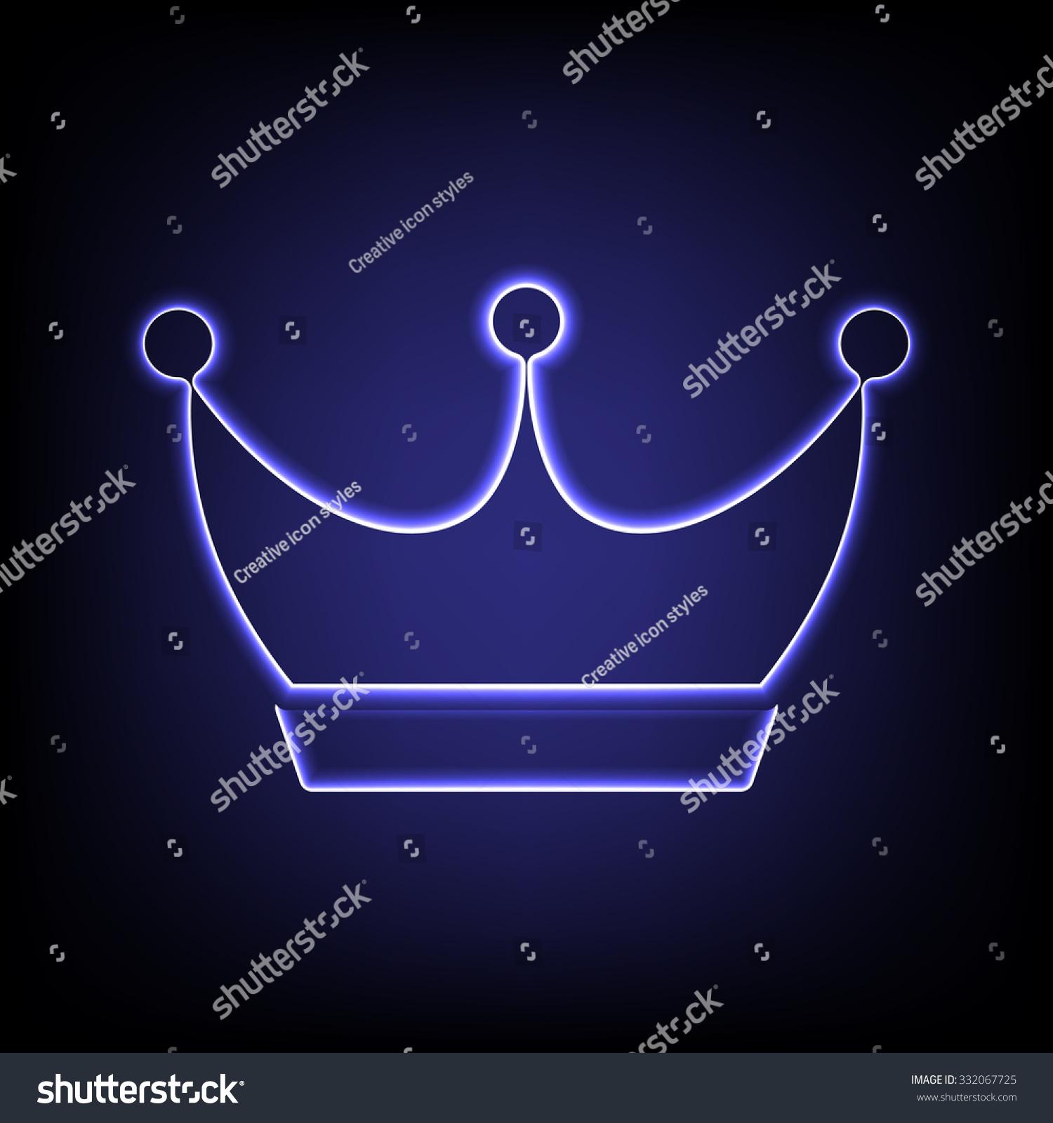 King Crown Icon Neon Effect Stockillustration 332067725
