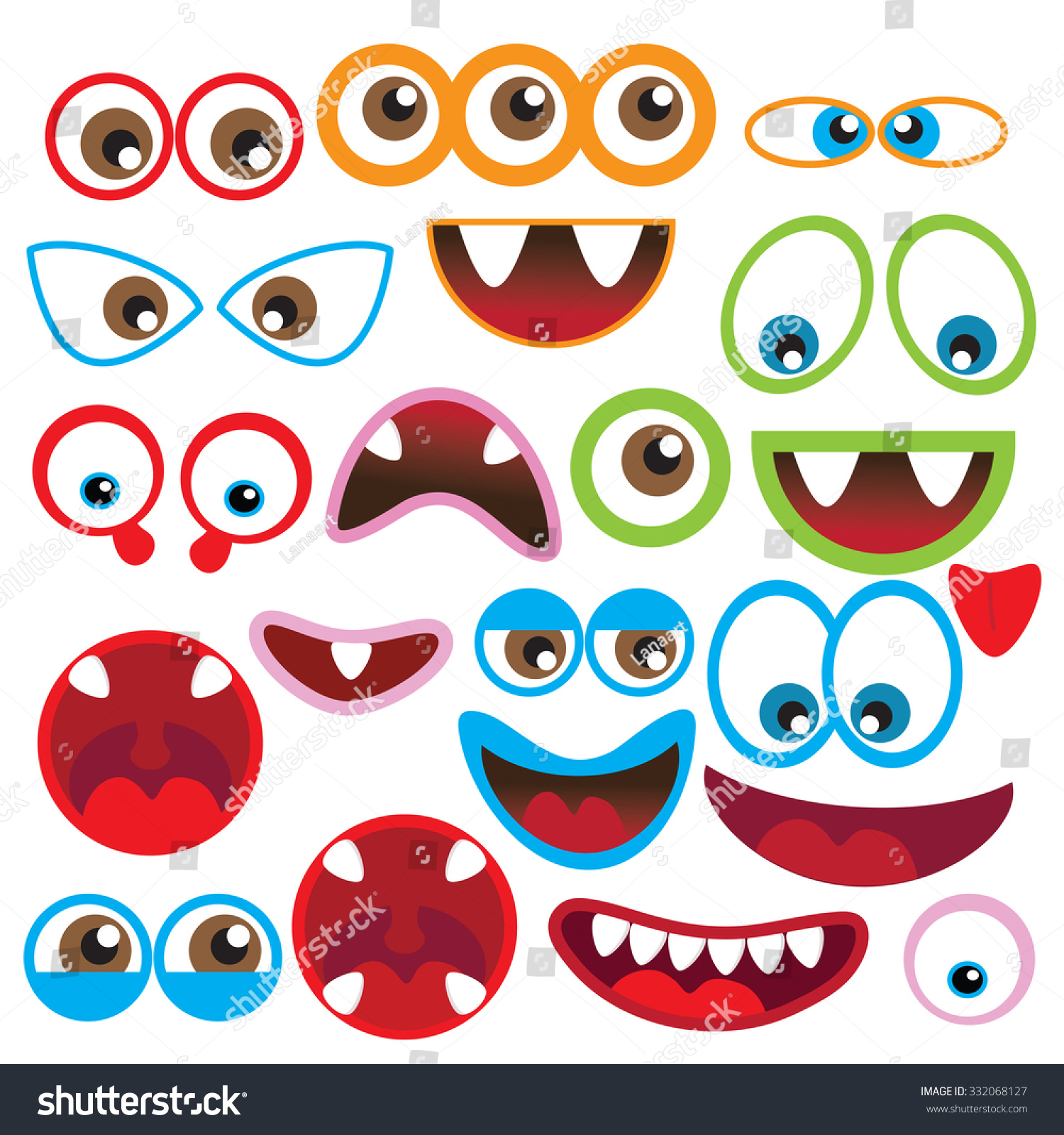 Cute Monsters Eyes Mouth Vector Illustration Stock Vector