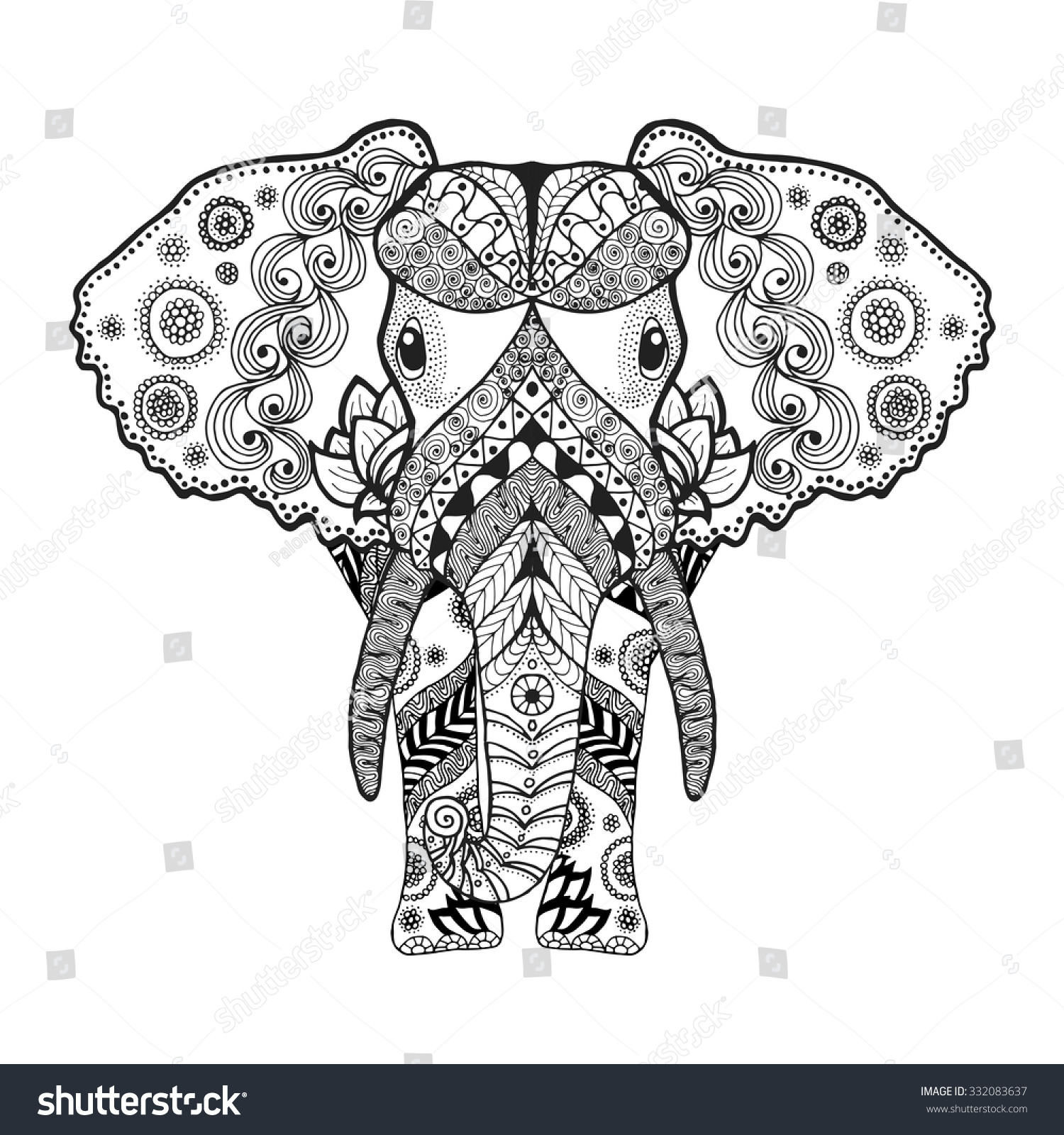 Anti stress colouring pages for adults - Adult Antistress Coloring Page Black White Hand Drawn Doodle Animal Ethnic Patterned Vector