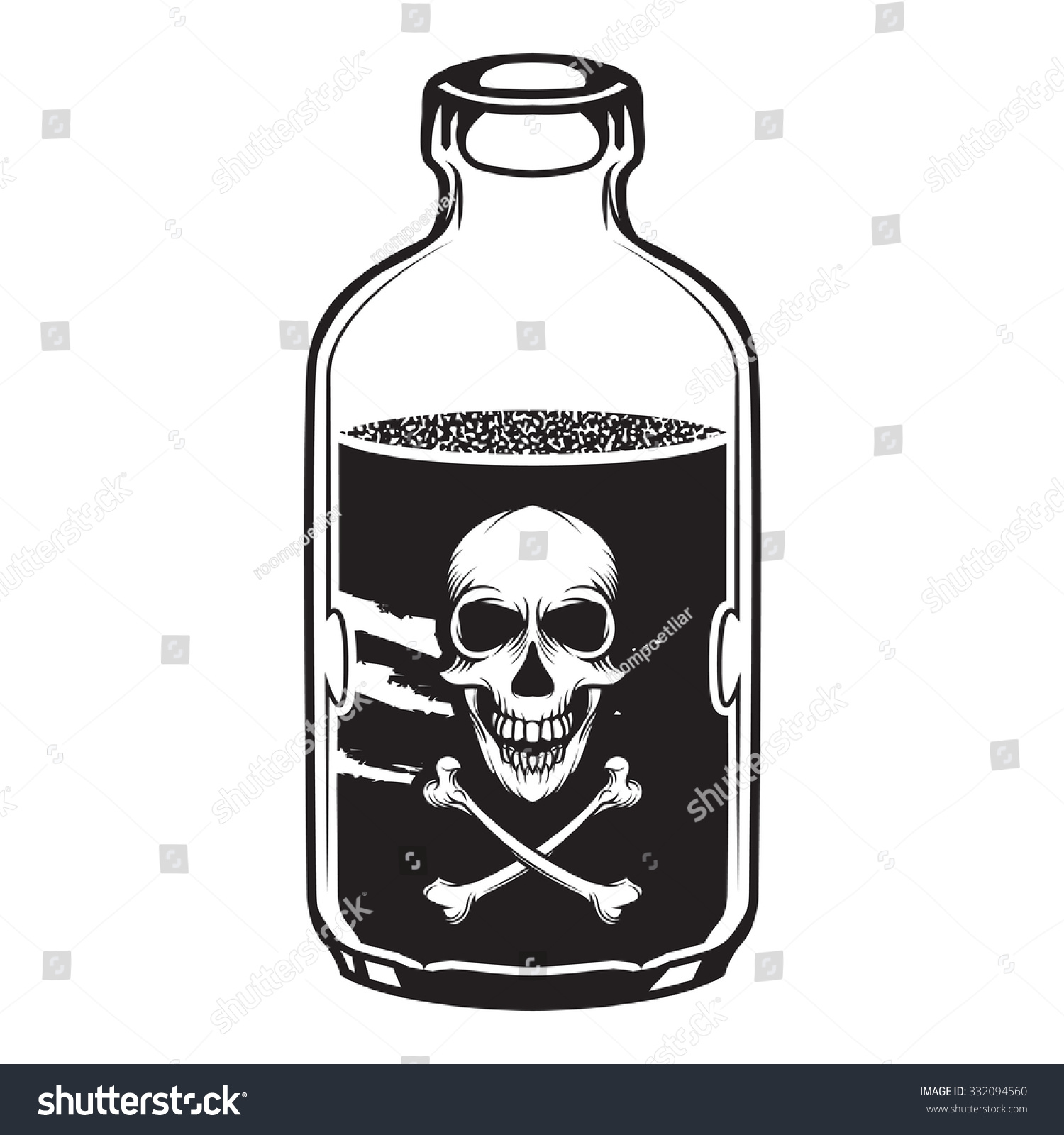 Vintage Vector Poison Bottle Skull Label Stock Vector ...