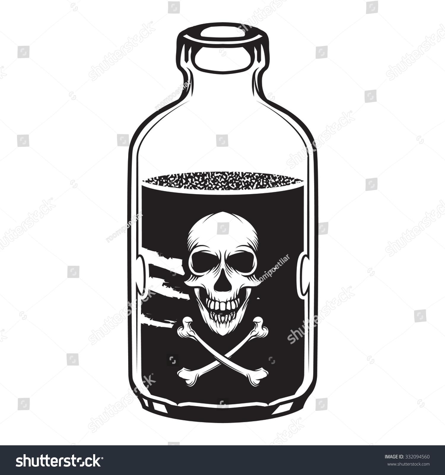 Vintage Vector Poison Bottle Skull Label Stock Vector ...