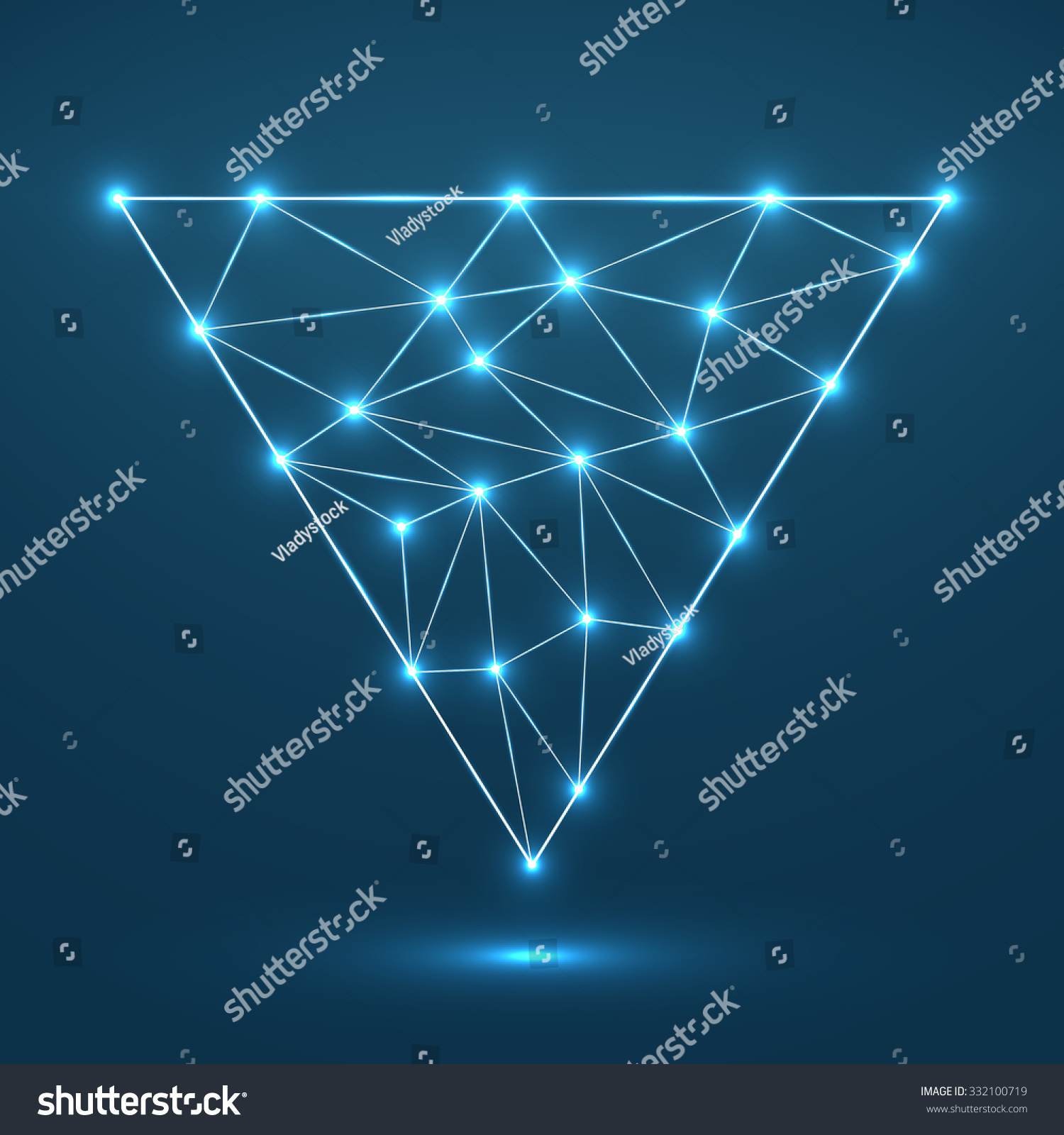 Wireframe mesh polygonal background. Abstract form with connected ...
