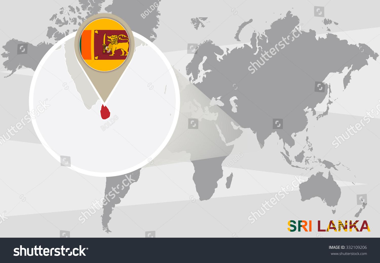 World Map Magnified Sri Lanka Sri Stock Illustration 332109206 ...
