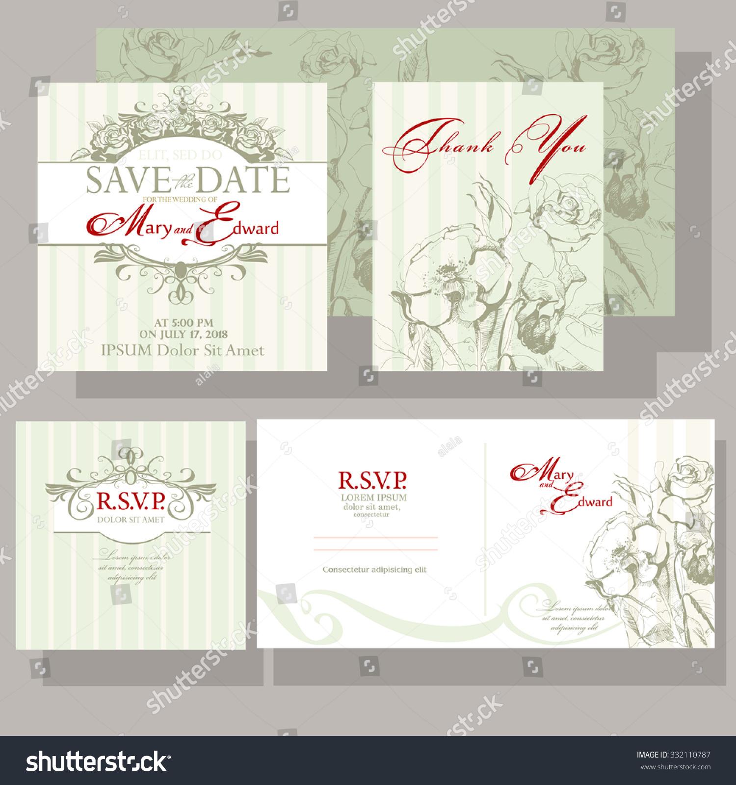 Wedding Invitation Roses Design Resource Reservation Stock Vector ...
