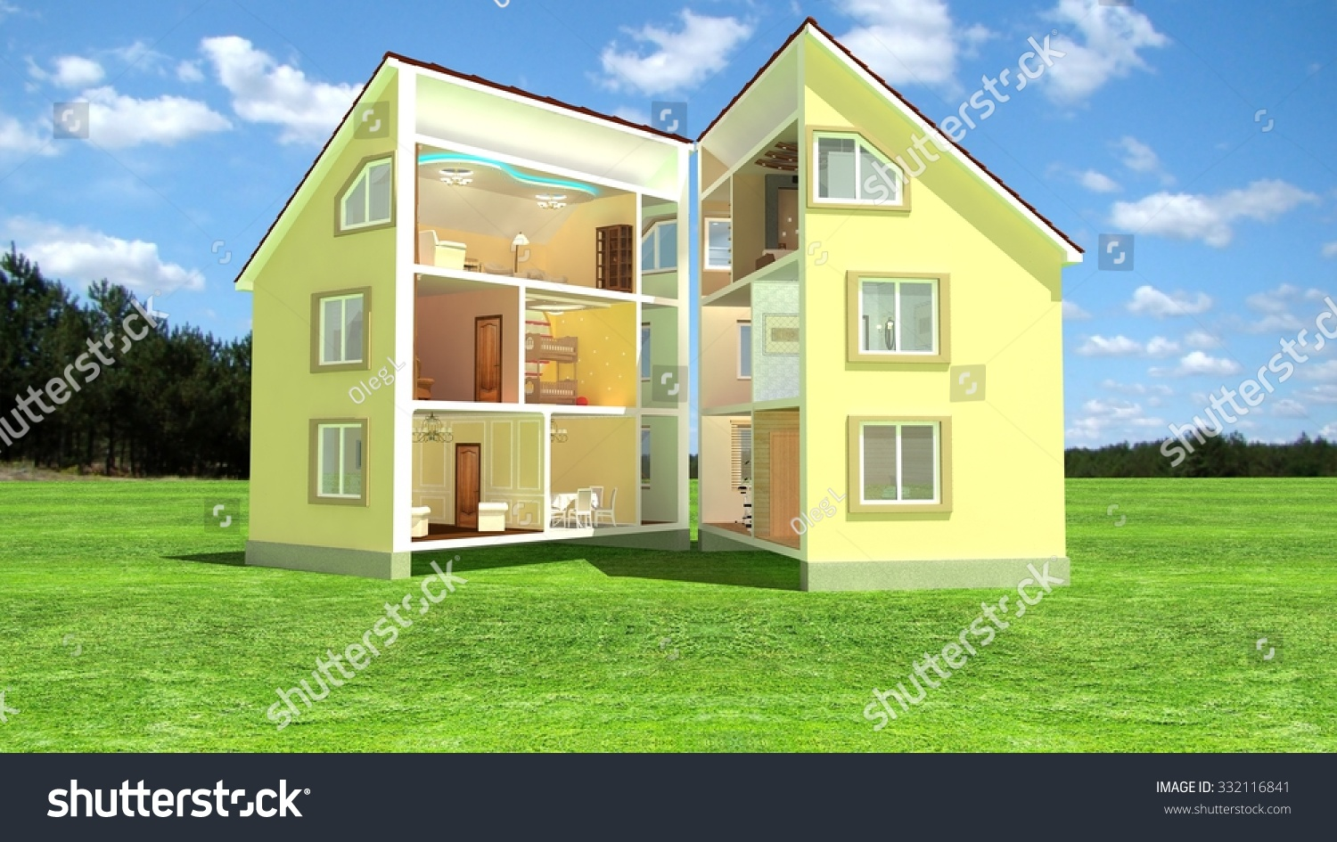 3d isometric view of the cut residential house on the yard