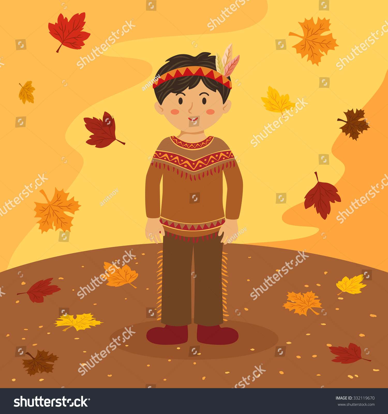 Thanksgiving Indian Boy Illustration Of Thanksgiving Greeting Card
