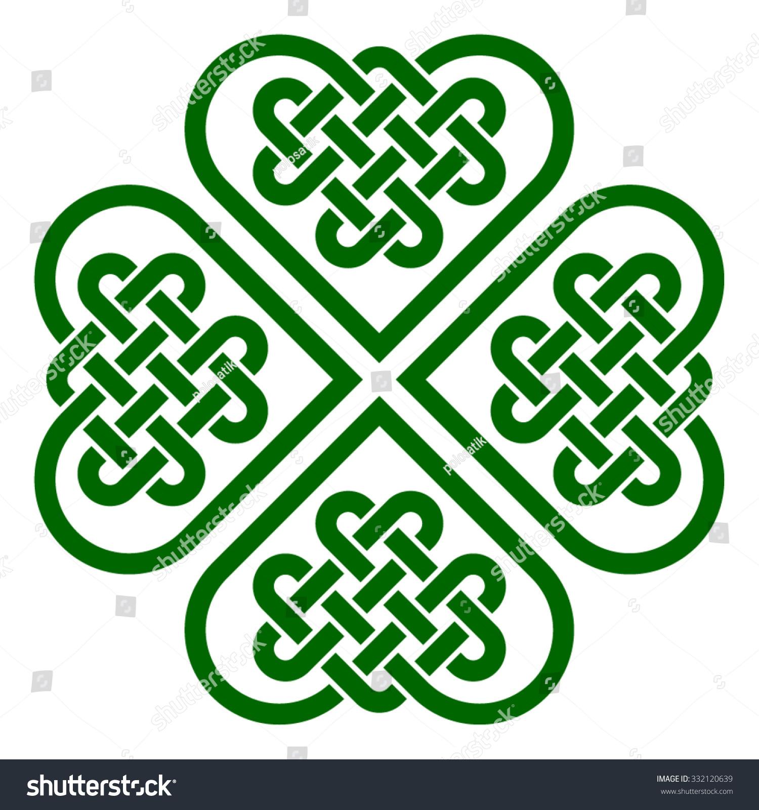 fourleaf clover shaped knot made celtic stock vector 332120639