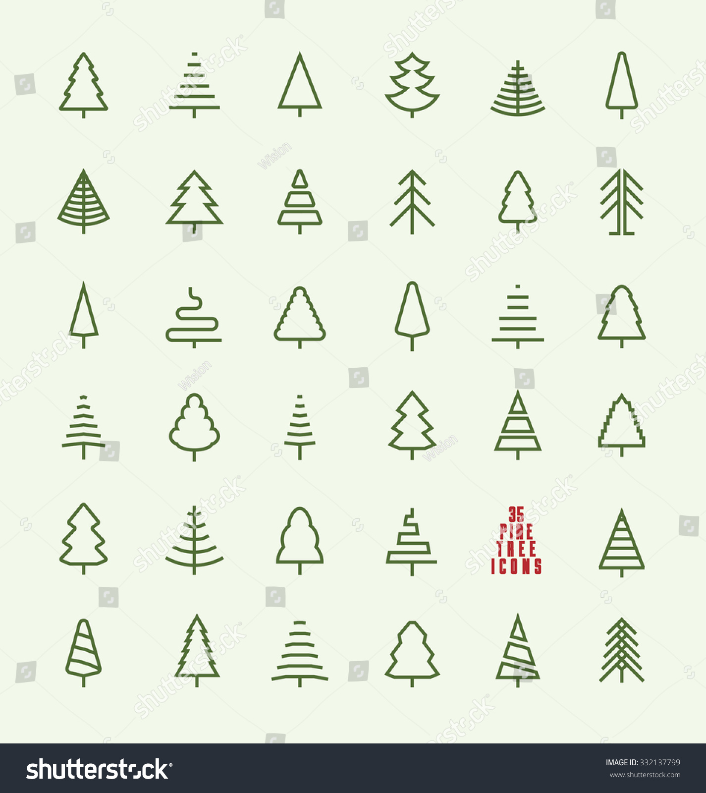 Tree Line Art Design : Thin line pine tree icon set stock vector