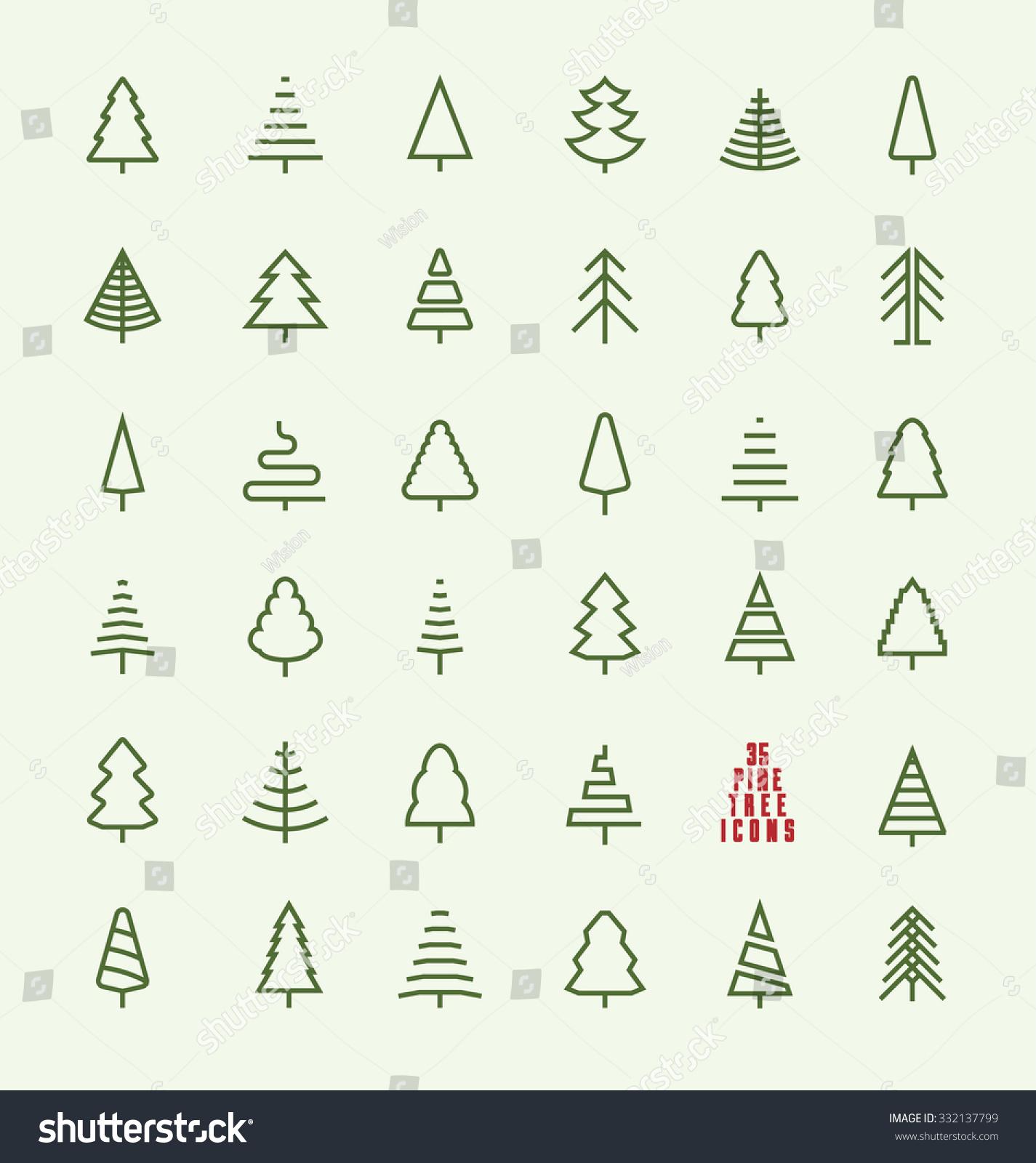 Tree Line Art Design : Thin line pine tree icon set stock vector