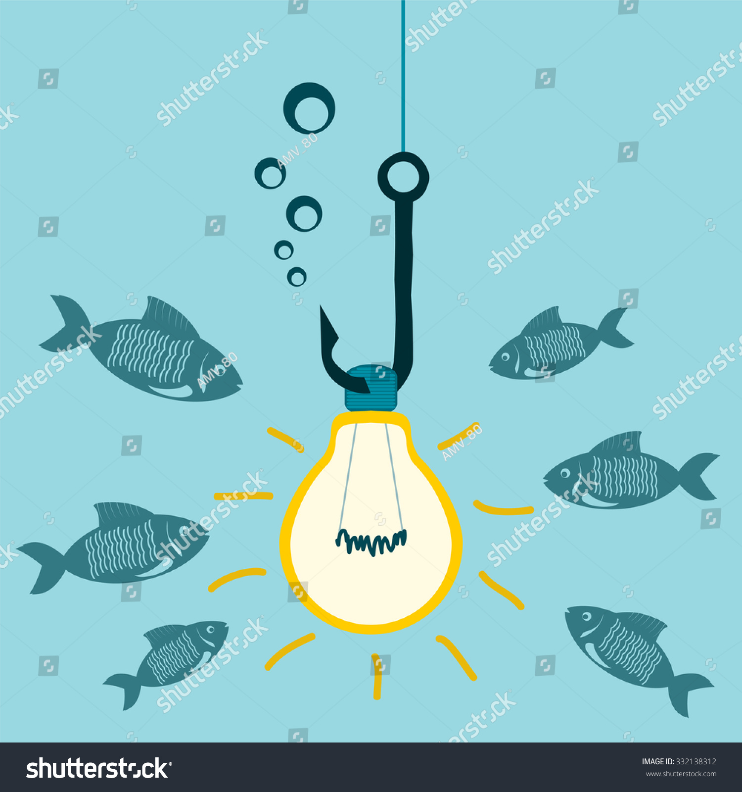 light bulb on fishing hook underwater stock vector 332138312, Reel Combo