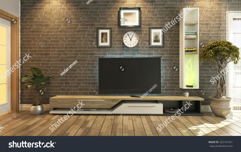 Black brick wall interior - Tv Unit With Black Brick Wall Interior Scene 3d Rendering