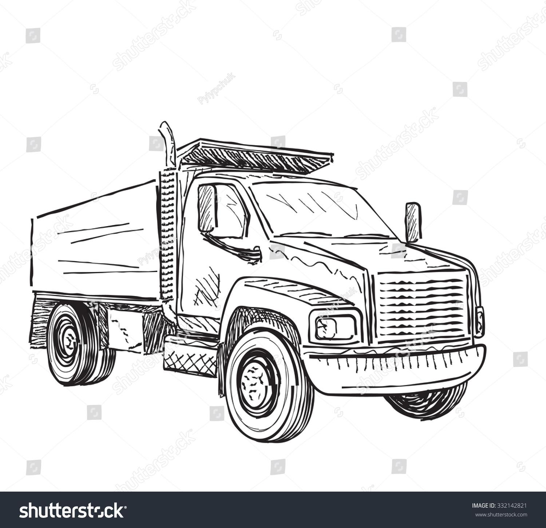 Truck Sketch Stock Vector (2018) 332142821 - Shutterstock