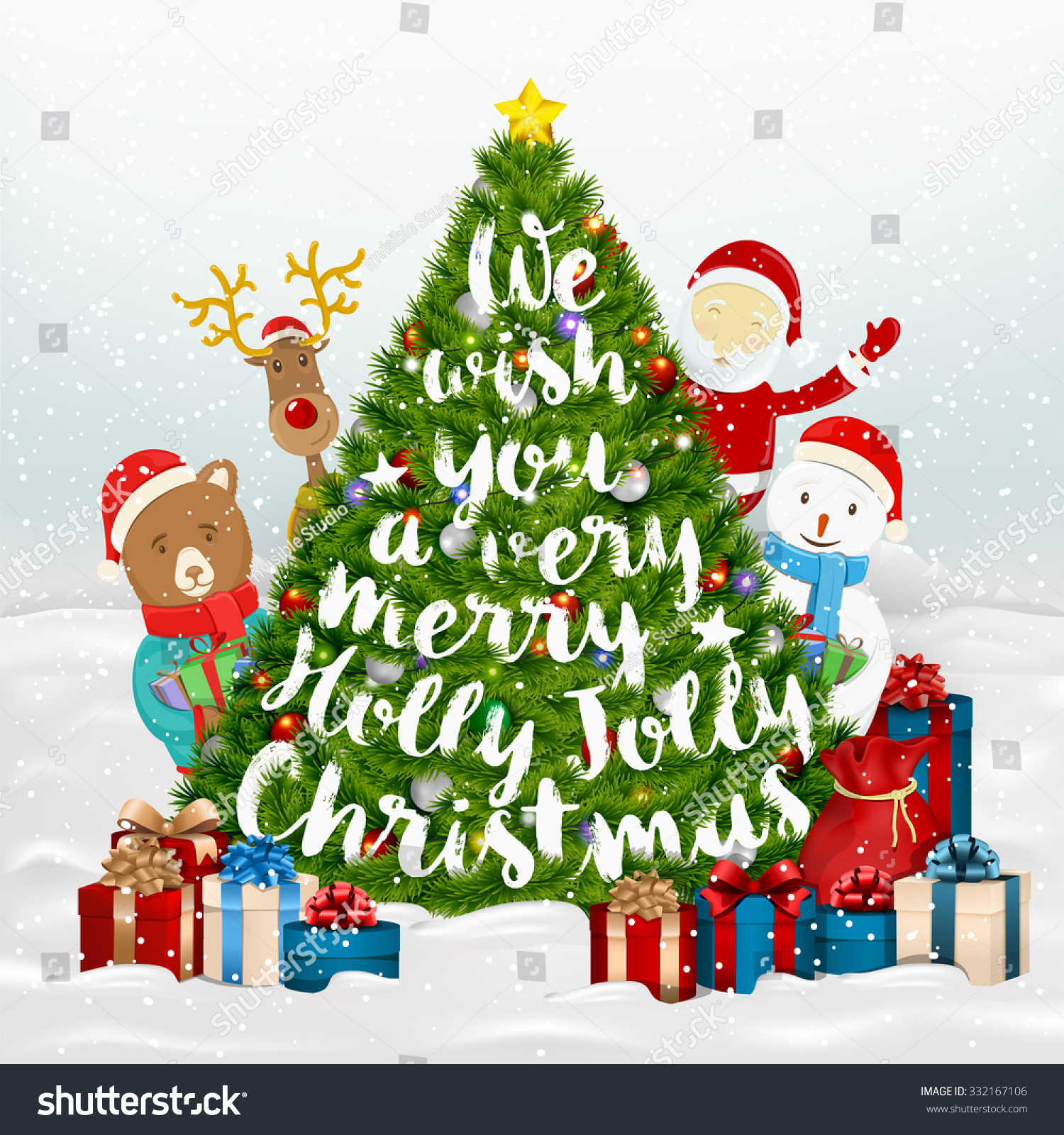 We Wish You A Very Merry Holly Jolly Christmas Typographical ...