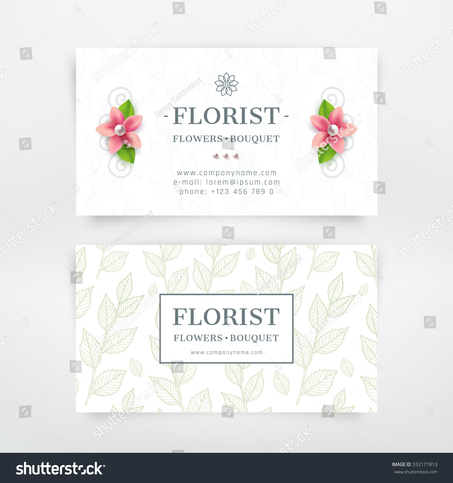 Florist business card design flower branch stock vector for Florist business cards
