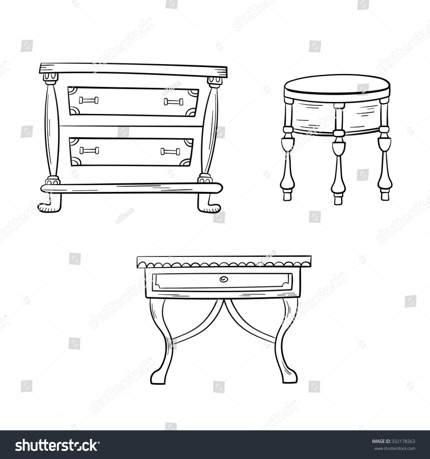 furniture set antique bureau tables isolated on a white background vector drawing lines. Black Bedroom Furniture Sets. Home Design Ideas