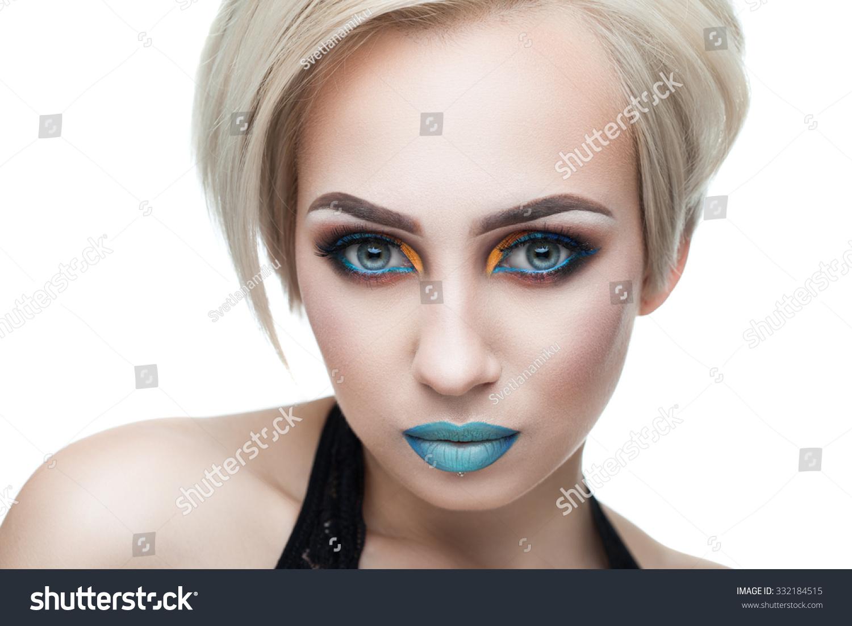 busty blonde black top evening makeup stock photo 332184515