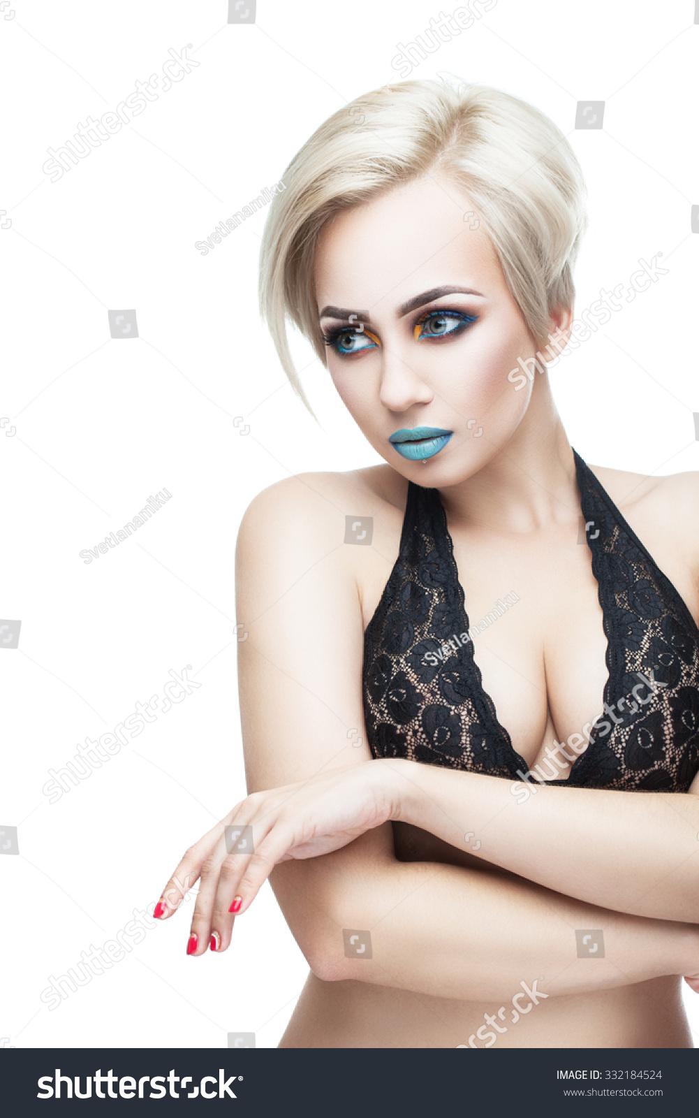 busty blonde black top evening makeup stock photo (royalty free