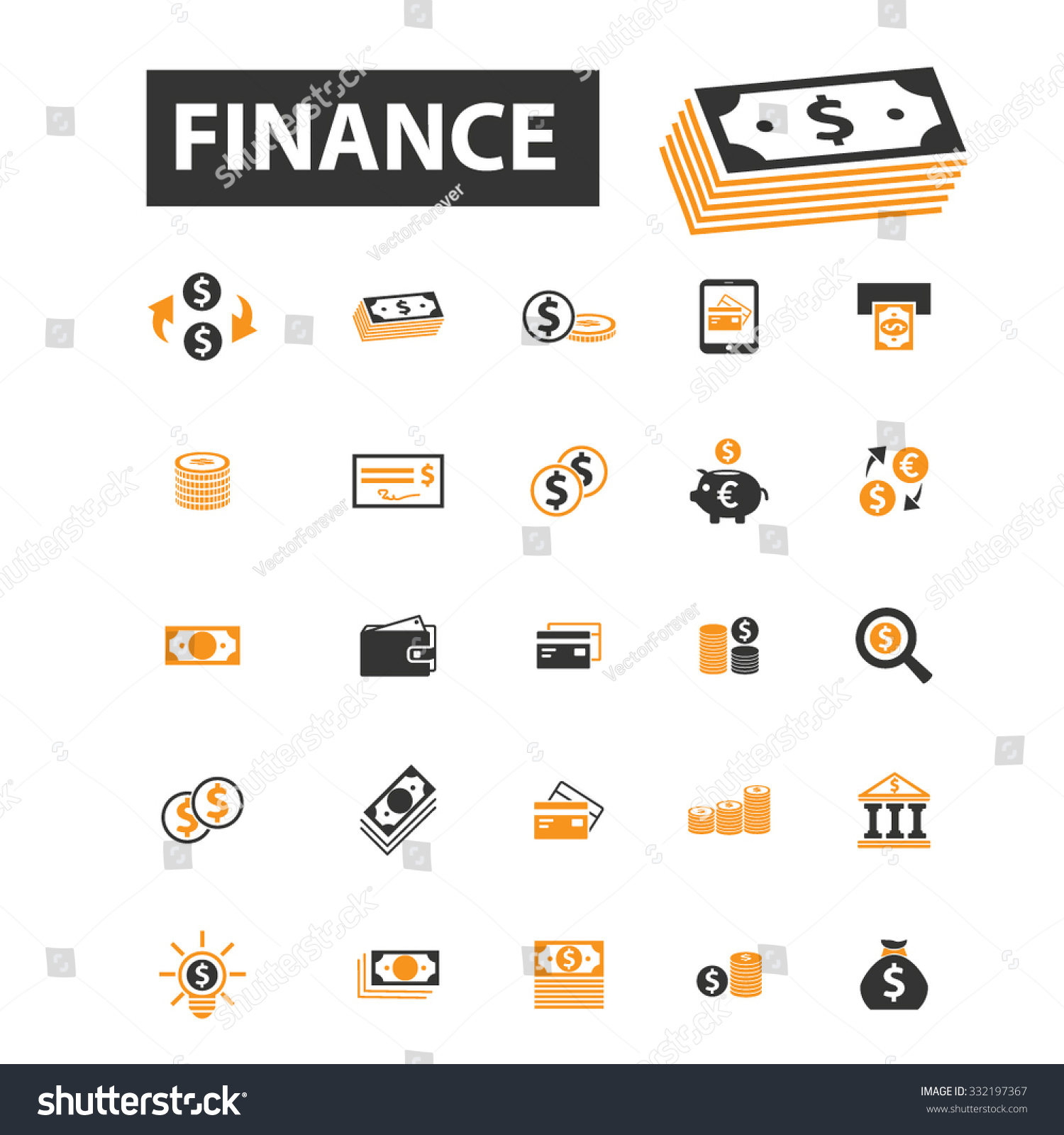 Finance Sign: Finance Bank Money Banknote Icon Sign Stock Vector