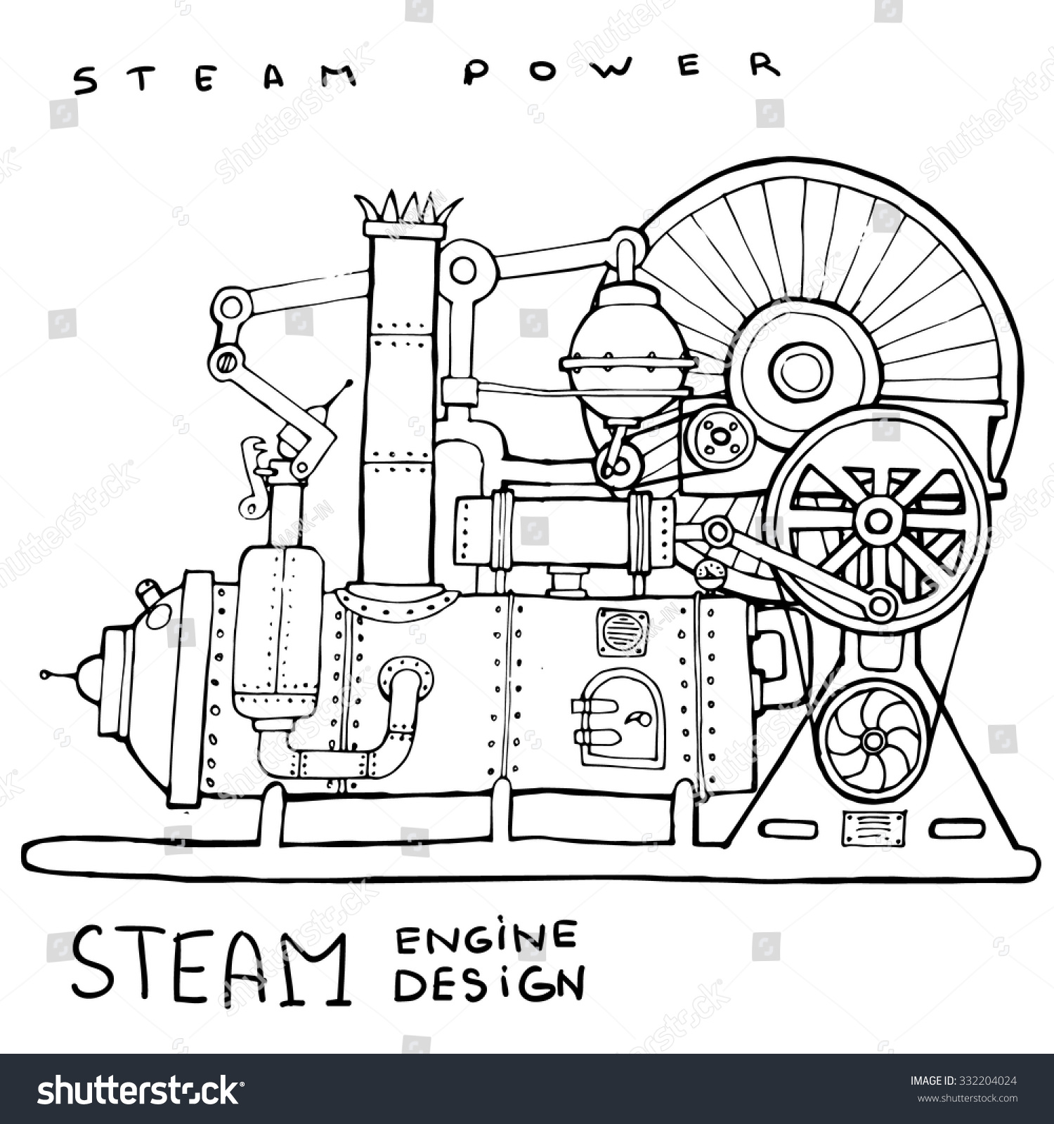 Old Steam Engine Hand Drawn Vintage Stock Vector Royalty Free Piston Diagram Illustrationvector