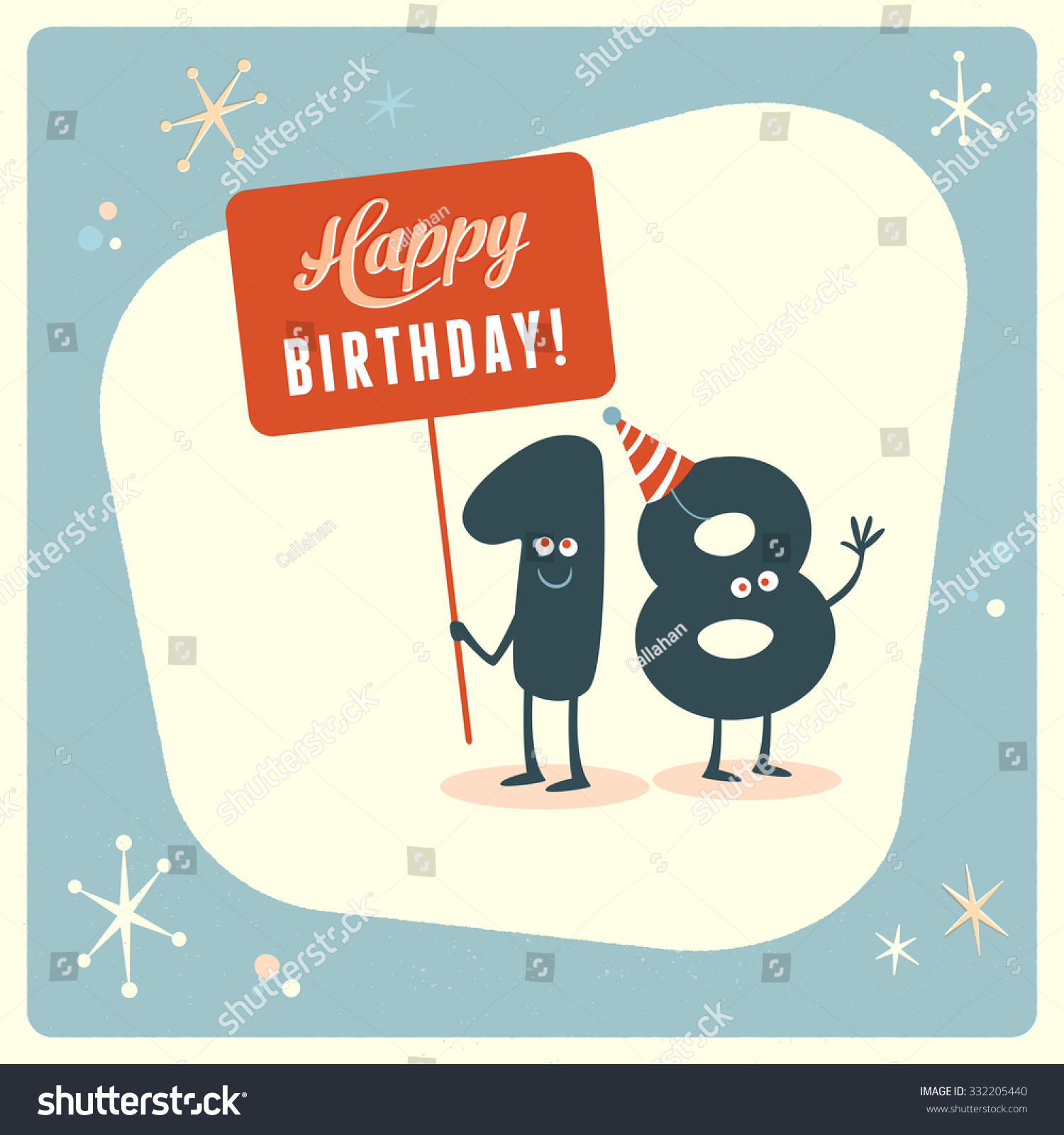Vintage Style Funny 18th Birthday Card Vector 332205440 – Funny 18th Birthday Card