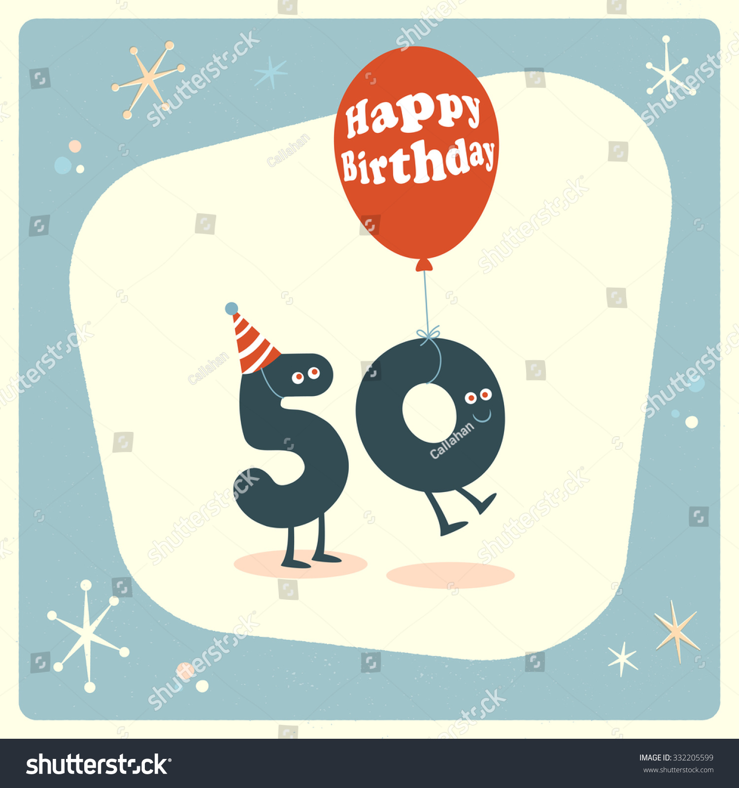 Vintage Style Funny 50th Birthday Card. Stock Vector