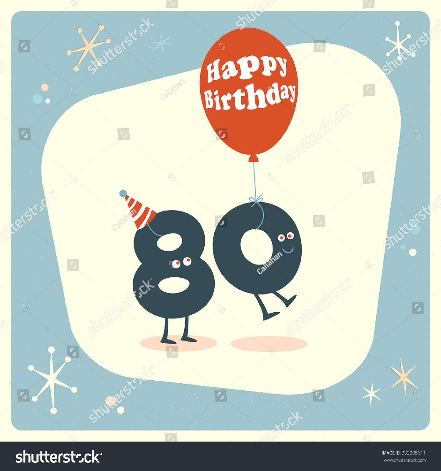 Vintage Style Funny 80th Birthday Card Stock Vector