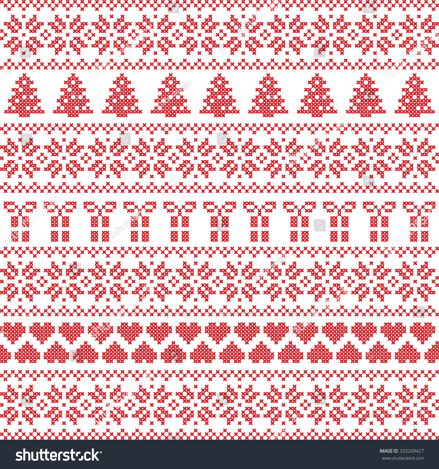 Seamless fir tree scandinavian pattern textile background wrapping - Scandinavian Style Nordic Winter Sweater Stitch Knit Pattern Including Star Xmas Tree