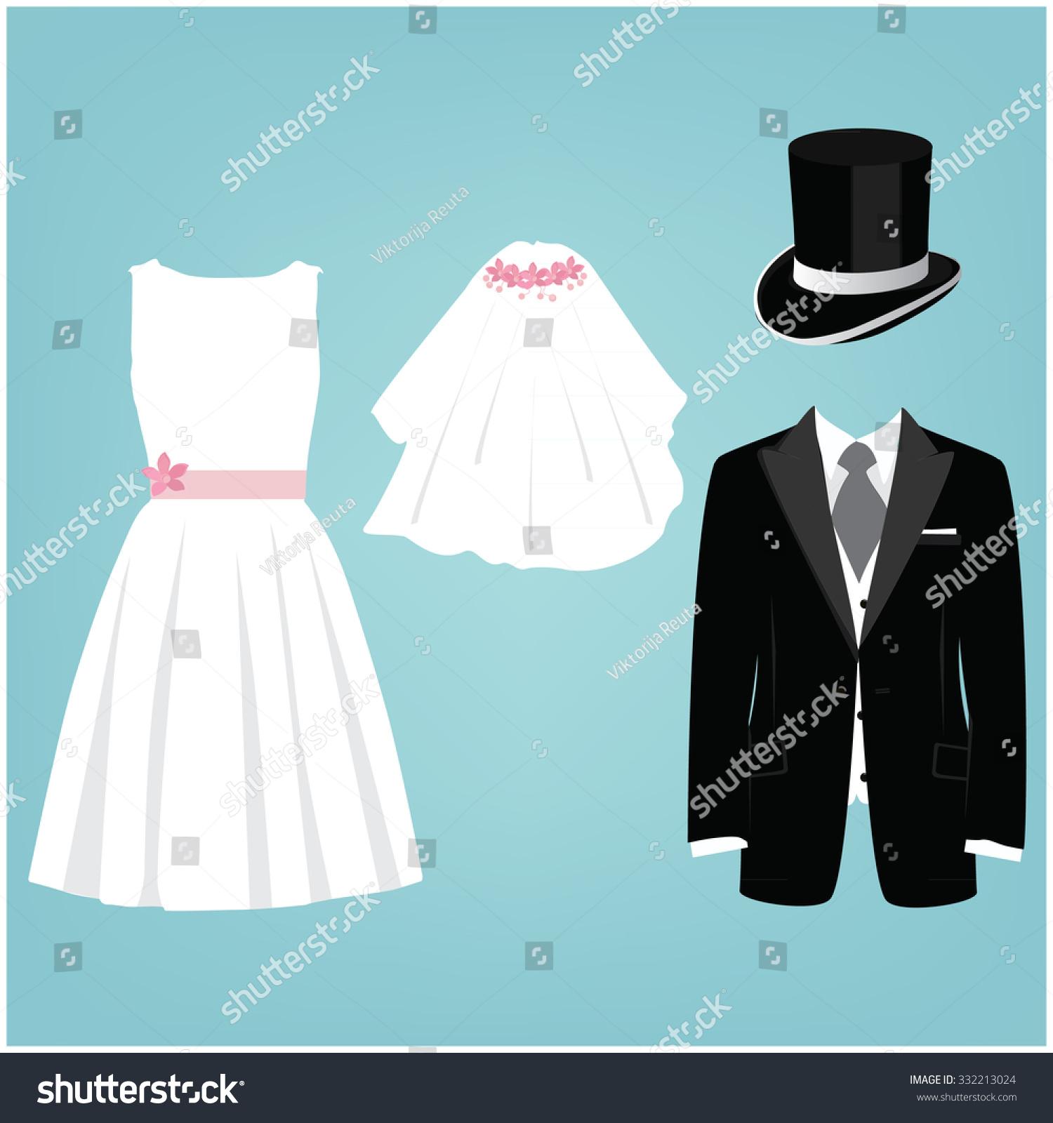 Wedding Card Invitation Wedding Dresses Cylinder Stock Illustration ...